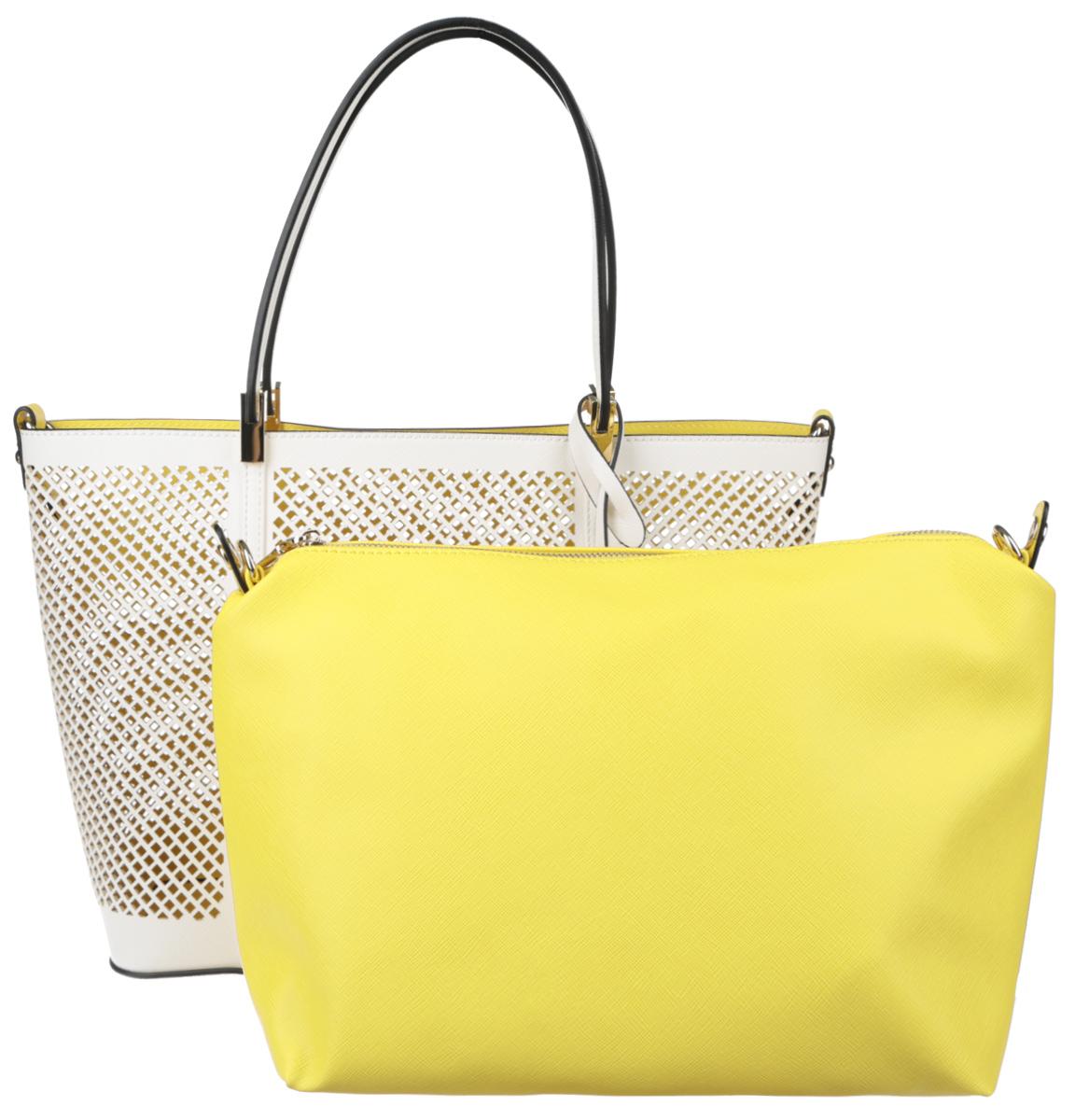 Сумка женская Vitacci, цвет: белый. GLM0239D-5S76245Изысканная женская сумка Vitacci выполнена из качественной искусственной кожи с перфорацией. Удобные ручки крепятся к корпусу сумки на металлическую фурнитуру золотистого цвета. Внутри сумка оснащена съемным отделением с текстильной подкладкой, выполненным из искусственной кожи желтого цвета, внутри которого содержится два накладных кармана для телефона и мелких принадлежностей, а также врезной карман на молнии. Съемное отделение крепиться к основной сумке с помощью ремешков на кнопке, имеет металлические крепежи для плечевого ремешка, поэтому его можно использовать как отдельный аксессуар. Сумка оснащена съемным плечевым ремнем регулируемой длины, которые позволят носить изделие как в руках так и на плече. Ручки сумки декорированы оригинальным брелоком на ремешке. Практичная и стильная сумка прекрасно завершит ваш образ.