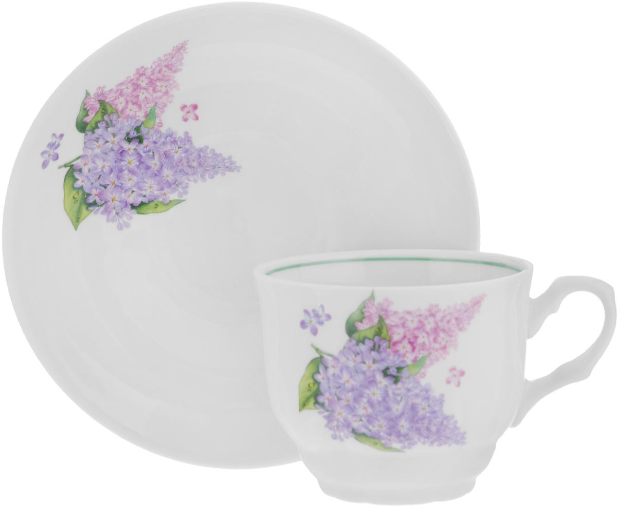 Чайная пара Тюльпан. Сирень, 2 предмета115510Чайная пара Тюльпан. Сирень состоит из чашки и блюдца, изготовленных из высококачественного фарфора. Оригинальный дизайн изделий, несомненно, придется вам по вкусу.Чайная пара Тюльпан. Сирень украсит ваш кухонный стол, а также станет замечательным подарком к любому празднику.Диаметр чашки (по верхнему краю): 8,7 см.Высота чашки: 7 см.Диаметр блюдца (по верхнему краю): 15,3 см.Высота блюдца: 3 см.