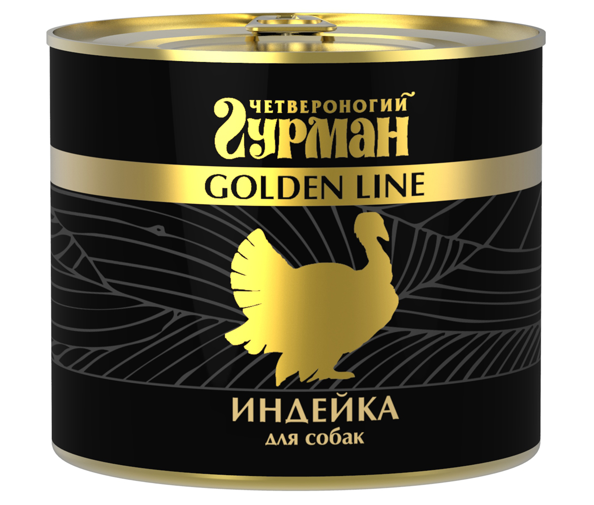 Консервы для собак Четвероногий гурман Golden Line, индейка натуральная в желе, 500 г