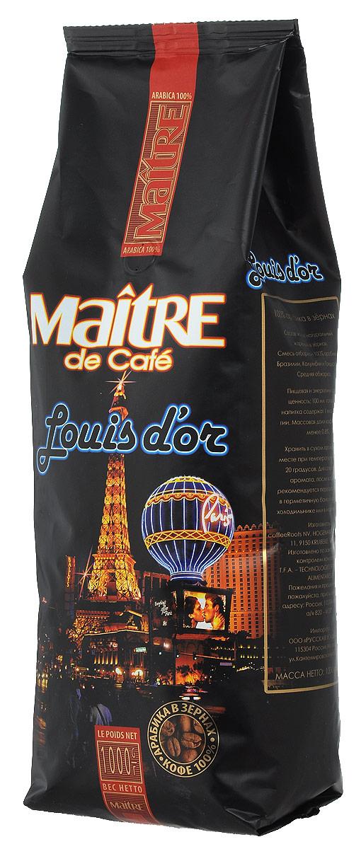 Maitre Луидор кофе в зернах, 1 кг0120710Maitre Луидор - ароматная смесь зёрен арабики из Бразилии, Колумбии и Гондураса. При приготовлении эспрессо даёт великолепный крем и сбалансированный вкус. Подходит также для приготовления кофе в турке и френч-прессе.