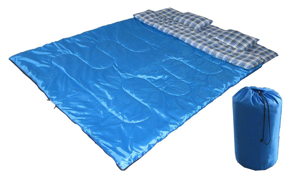 Спальный мешок- одеялоReka двойной, молния посередине цвет: синий. S-023S-023Двойной спальный мешок Reka - это очень практичная модель для летнего сезона в туризме и активного отдыха на природе. В комплекте мешок, 2 подушки и чехол.Размер: 210 х 150 см.Материал наружный: 170T полиэстер.Наполнитель: 400 гр/м2 хлопок.Температурный режим: до +5 С.Вес: 2,56 кг.