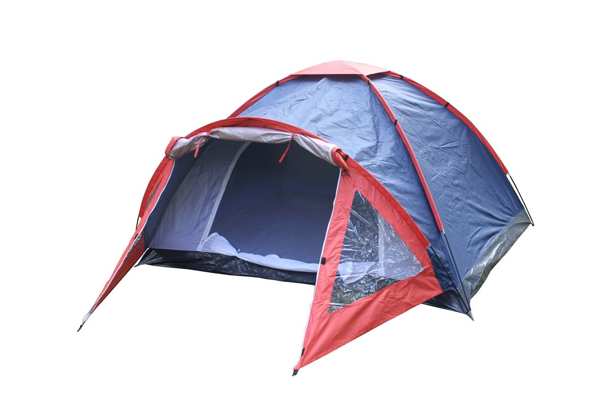 Палатка Reka, 4-местная, цвет: синий, красныйHD-11094-местная палатка Reka отлично подойдет для кемпинга и похода. Каркас выполнен из фибергласса, тент из полиэстера.Швы палатки проварены.Размер: (210+110) х 250 х 135 см.Материал тента: 190T полиэстер. Водонепроницаемость тента: PU 800 мм.Вес: 3,56 кг.