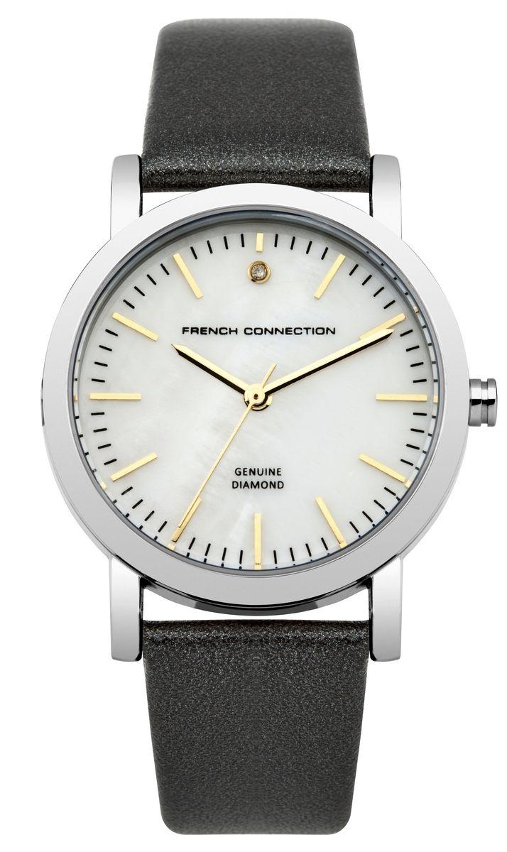 Часы наручные женские French Connection FC, цвет: черный, перламутровый. FC1250BBM8434-58AEСтильные часы French Connection FC - это модный и практичный аксессуар, который не только выгодно дополнит ваш наряд, но и будет незаменим для каждой современной девушки, ценящей свое время. Корпус выполнен из нержавеющей стали. Перламутровый циферблат оформлен логотипом бренда и украшен инкрустацией натуральным бриллиантом.Корпус изделия имеет степень влагозащиты 3 Bar, оснащен кварцевым механизмом и дополнен устойчивым к царапинам минеральным стеклом. Изысканный ремешок выполнен из натуральной кожи и дополнен пряжкой, которая позволяет с легкостью снимать и надевать изделие.Часы поставляются в фирменной упаковке.Часы French Connection подчеркнут изящество ваших рук и ваш неповторимый стиль и элегантность.