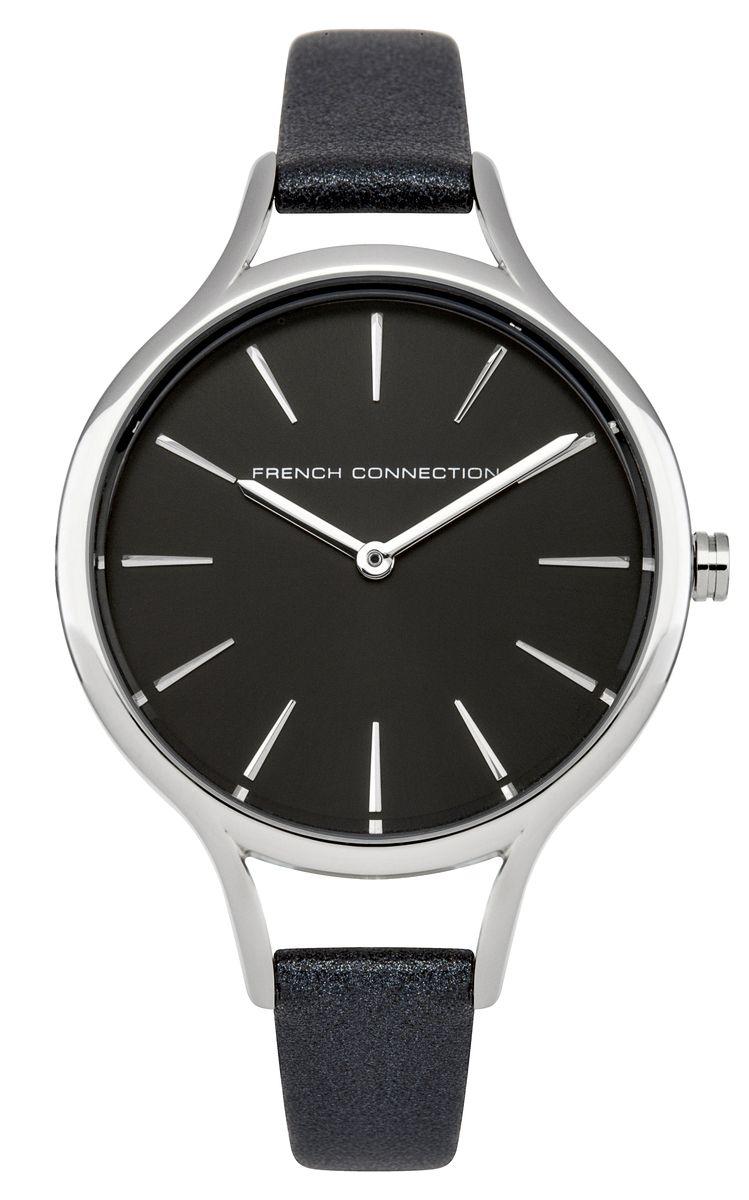 Часы наручные женские French Connection Slim Facet, цвет: темно-серый. FC1253BML597BUL/DСтильные часы French Connection Slim Facet - это модный и практичный аксессуар, который не только выгодно дополнит ваш наряд, но и будет незаменим для каждой современной девушки, ценящей свое время. Корпус выполнен из нержавеющей стали. Контрастный циферблат оформлен логотипом бренда.Корпус изделия имеет степень влагозащиты 3 Bar, оснащен кварцевым механизмом и дополнен устойчивым к царапинам минеральным стеклом. Изысканный узкий ремешок выполнен из натуральной кожи и дополнен пряжкой, которая позволяет с легкостью снимать и надевать изделие.Часы поставляются в фирменной упаковке.Часы French Connection подчеркнут изящество ваших рук и ваш неповторимый стиль и элегантность.