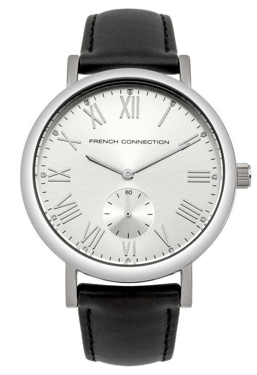Часы наручные French Connection, цвет: серебряный, черный. FC1259BBM8434-58AEСтильные часы French Connection выполнены из нержавеющей стали и минерального стекла. Циферблат оформлен символикой бренда и оснащен отдельным индикатором с секундной стрелкой.Корпус изделия имеет степень влагозащиты 3 Bar, оснащен кварцевым механизмом и дополнен устойчивым к царапинам минеральным стеклом. Ремешок выполнен из натуральной кожи и оснащен пряжкой, которая позволит с легкостью снимать и надевать изделие.Часы поставляются в фирменной упаковке.Часы French Connection классического дизайна прекрасно дополнят образ.