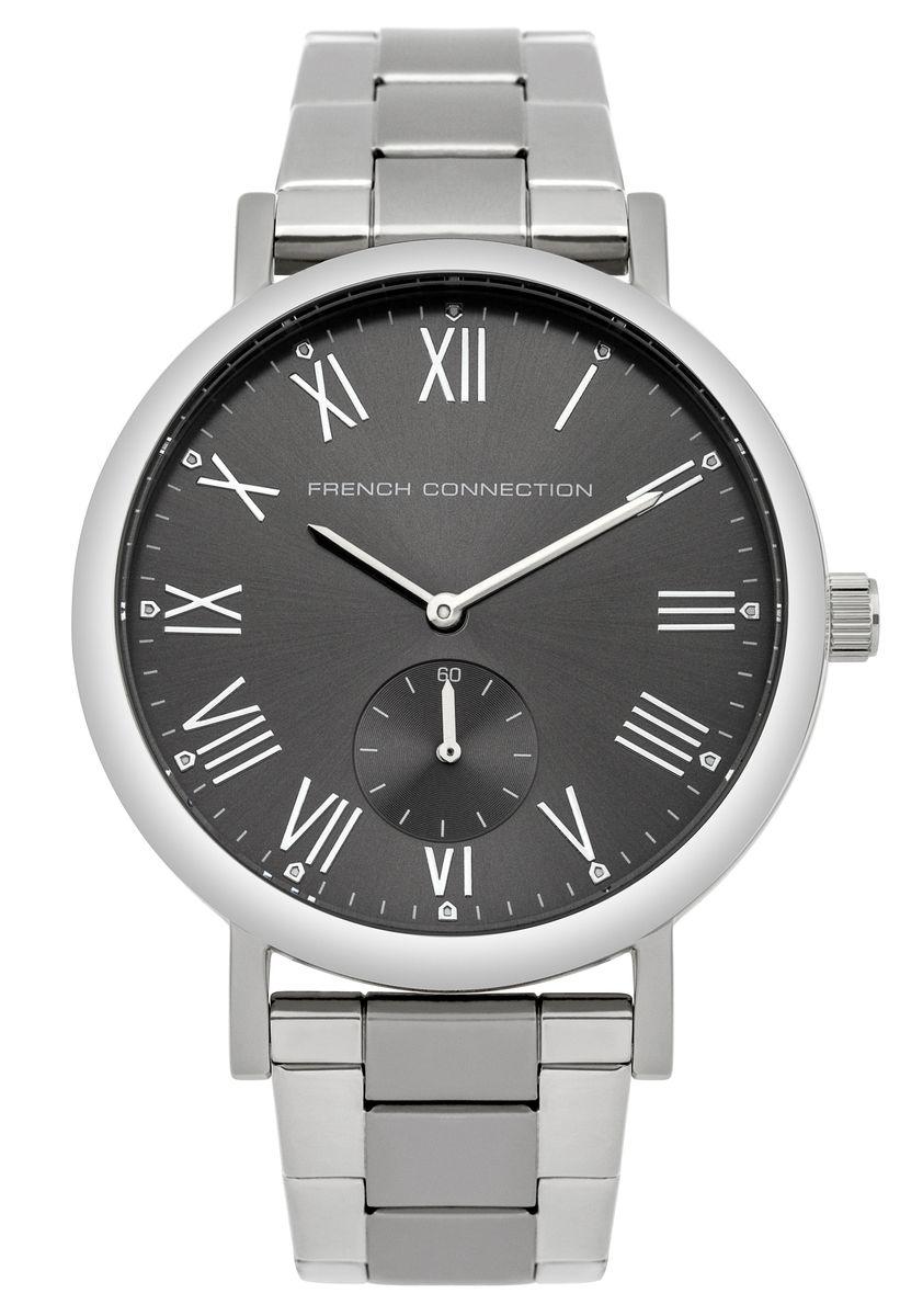 Часы наручные French Connection FC, цвет: серебристый, серый. FC1259BMBM8434-58AEСтильные часы French Connection - это модный и практичный аксессуар, который не только выгодно дополнит ваш образ, но и будет незаменим для каждого современного человека, ценящего свое время.Корпус часов выполнен из нержавеющей стали. Циферблат оформлен символикой бренда и оснащен отдельным индикатором с секундной стрелкой.Корпус изделия имеет степень влагозащиты 3 Bar, оснащен кварцевым механизмом и дополнен устойчивым к царапинам минеральным стеклом. Ремешок выполнен из нержавеющей стали и оснащен раскладывающейся застежкой, которая позволит с легкостью снимать и надевать изделие.Часы поставляются в фирменной упаковке. Часы French Connection подчеркнут подчеркнут ваш неповторимый стиль и дополнят любой наряд.