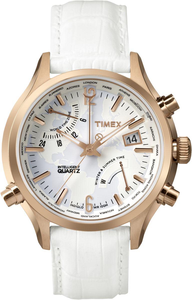 Наручные часы женские Timex IQ, цвет: белый. TW2P87800BM8434-58AEМеханизм IQ World Time время в 24 городах мира, индикатор сезона,Подсветка Indiglo,Дата,Корпус и браслет из нержавеющей стали,Ремешок из натуральной кожи,Водозащита10АТM,Ширина корпуса 44 мм, Ширина ремешка 20мм,