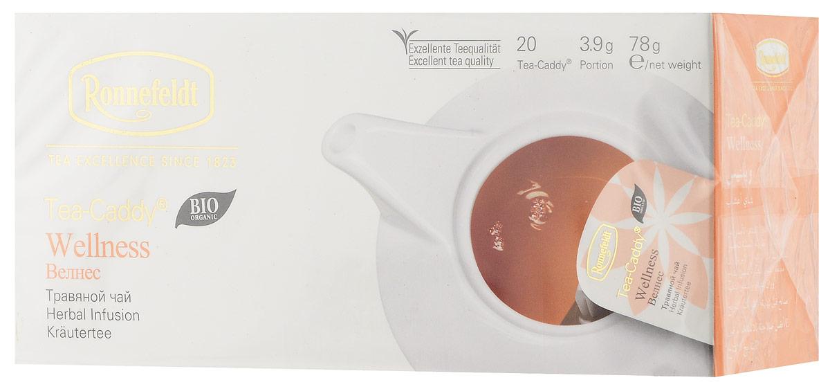 Ronnefeldt Велнес травяной чай в пакетиках для чайника, 20 шт13100Ronnefeldt Велнес - тонизирующий травяной чай с ройбушем, мятой, анисом и другими свежими ингредиентами.Пакетики Tea-Caddy - оригинальный продукт Ronnefeldt, облегчающий безупречное приготовление изысканного листового чая в чайнике. Благодаря просторному пакетику, чайные листья могут полностью раскрыться и предать напитку свой аромат