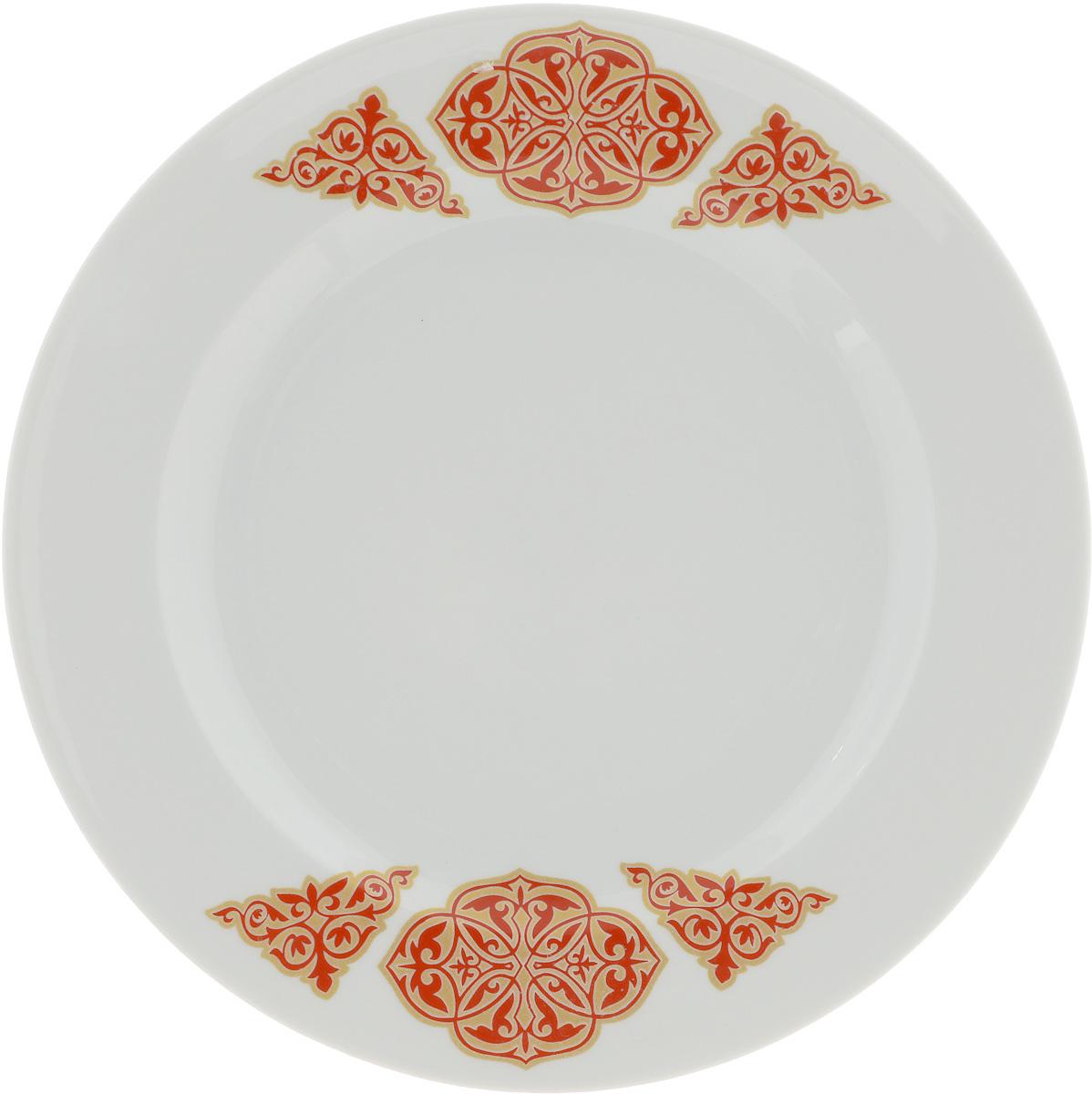 Тарелка Идиллия. Восточный, диаметр 23,5 см54 009312Тарелка Идиллия. Восточный изготовлена из высококачественного фарфора. Изделие декорировано красочным изображением. Такая тарелка отлично подойдет в качестве блюда, она идеальна для сервировки закусок, нарезок, горячих блюд. Тарелка прекрасно дополнит сервировку стола и порадует вас оригинальным дизайном. Диаметр тарелки: 23,5 см. Высота стенки: 3 см.