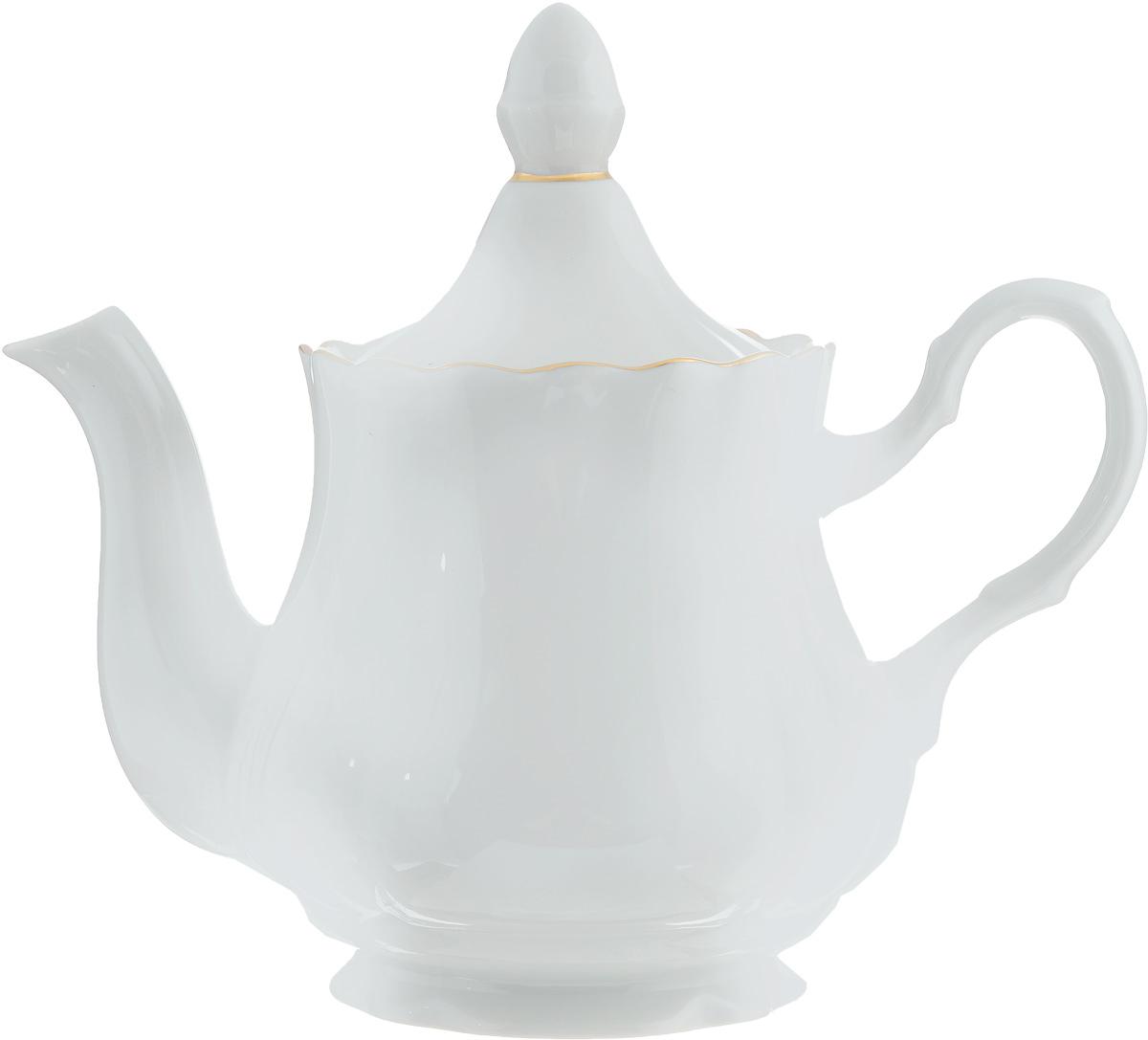 Чайник заварочный Романс, 800 мл115510Заварочный чайник Романс выполнен из высококачественного фарфора и покрыт сверкающей глазурью. Изделие оснащено крышкой. Заварочный чайник Романс придется по вкусу и ценителям классики, и тем, кто предпочитает утонченность и изысканность.Диаметр (по верхнему краю): 9,5 см. Высота чайника (без учета крышки): 14 см.