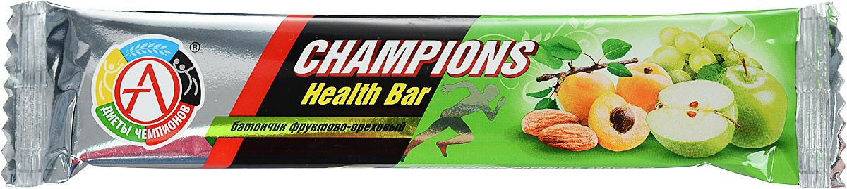 Батончик спортивный Академия-Т Champions Health Bar, фруктово-ореховый, 55 г00000000531Фруктово-ореховый батончик Академия-ТChampions Health Bar обогащен пищевыми волокнами (60% от суточной потребности в батончике), что позволит нормализовать работу кишечника и укрепит иммунитет при регулярном потреблении.Спортивный батончик Академия-ТChampions Health Bar - настоящая находка среди продуктов питания. Это эффективный и, главное, полезный и удобный заменитель питания, концентрирующий в себе легкоусвояемые ценные протеины, углеводы, аминокислоты, минералы, витамины и другие пищевые вещества. Такой продукт спортивного питания может дополнить рацион человека и служить в качестве полезного перекуса.Батончики - это оптимальное решение для всех людей, кто занимается спортом и ведет просто активный образ жизни. Довольно удобная и практичная форма, высокое качество, небольшая стоимость делают их лучшим решением на сегодняшний день для многих активных и спортивных людей.Академия-ТChampions Health Bar - это полностью натуральные батончики, состоящие из сухофруктов и орехов, в которых сбалансированы самые необходимые питательные компоненты для активного роста мышц. В каждом батончике содержится суточная доза витаминов А и С из натуральных источников. Не проходят термообработку, что позволяет полностью сохранить все витамины и минеральные вещества. Изделия покрыты тонкой вафелькой, что делает их более удобными и практичными. Состав: сухофрукты: виноград, яблоко, абрикос; пищевые волокна, ядра ореха миндаля, облатки вафельные (пшеничная мука, картофельный крахмал, растительное масло), кокосовое масло, эмульгатор (лецитин), антиоксидант (аскорбиновая кислота), ароматизатор идентичный натуральному Яблоко.Товар сертифицирован.