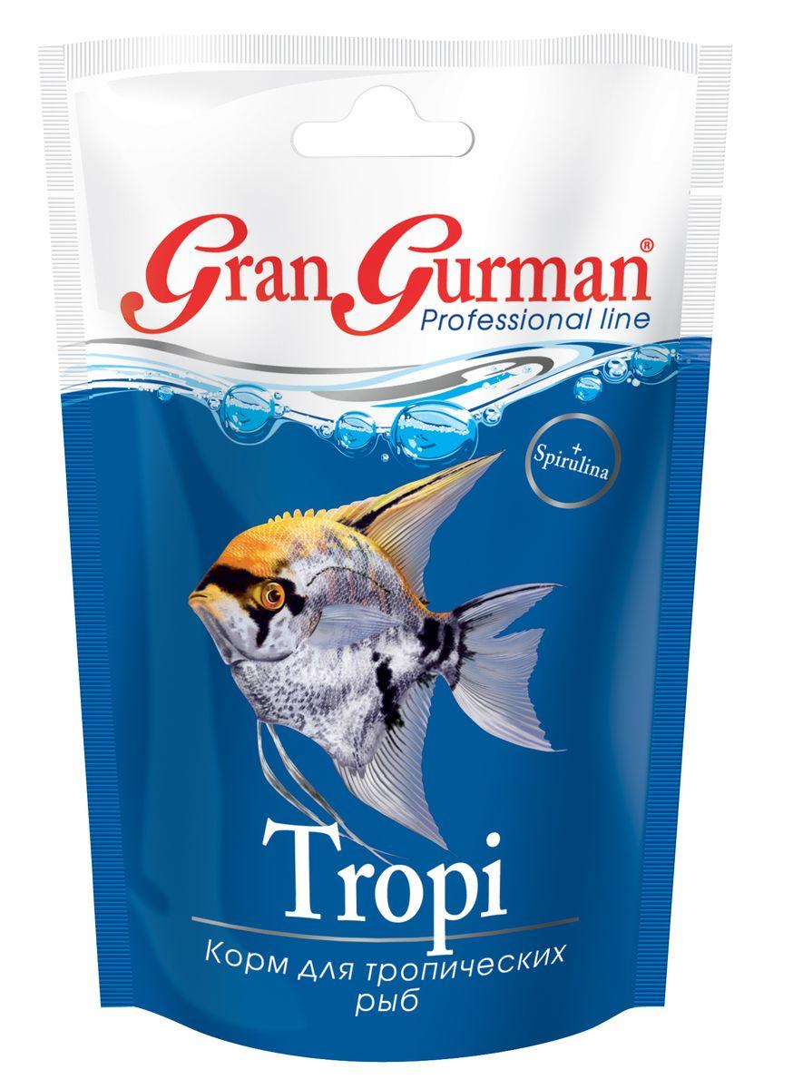 Корм для тропических рыб Gran Gurman Tropi, 30 г570Полнорационный гранулированный корм (плавающие и медленно тонущие гранулы) для ежедневного кормления большинства тропических аквариумных рыб, независимо от того, в каком слое воды они предпочитают добывать корм. Богат растительными и животными белками, легко и полностью усваивается. Содержит каротиноиды природного происхождения, жизненно важные витамины и минеральные вещества, необходимые для здоровья и проявления естественной яркой окраски. Входящая в состав корма спирулина нормализует обмен веществ и укрепляет иммунитет рыб, а пробиотик и энтеросорбент обеспечивают правильное пищеварение. Уникальная технология изготовления корма гарантирует его обеззараживание и сохранение важнейших пищевых свойств исходных компонентов.Состав: мелкие ракообразные, креветки, рыбные продукты, пшеничная мука, кукурузная мука, пророщенные семена злаковых и бобовых культур, спирулина, пивные дрожжи, морские водоросли, лецитин, энтеросорбент, витаминный комплекс, пробиотик (специальные бактерии Субтилис), витамин Е в качестве антиоксиданта.