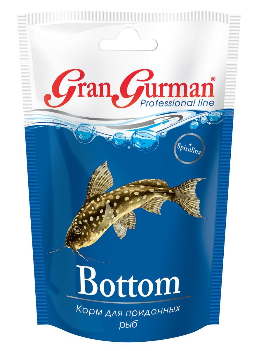 Корм для придонных рыб Gran Gurman Bottom, 25 г913Полнорационный гранулированный корм (тонущие чипсоподобные гранулы) для ежедневного кормления сомов и других придонных рыб. Содержит легко и полностью усваиваемые белки с необходимыми рыбкам незаменимыми аминокислотами, ненасыщенные жирные кислоты, жизненно важные витамины и минеральные вещества, которые обеспечат рыбкам крепкое здоровье. Входящие в состав корма пробиотик и энтеросорбент способствуют правильному пищеварению, а спирулина – нормальному обмену веществ и высокой сопротивляемости болезням. Применение уникальной технологии гарантирует обеззараживание корма и сохранение важнейших пищевых свойств исходных компонентов.Состав: пшеничная мука, кукурузная мука, соевый белок, смесь трав, пророщенные семена злаковых и бобовых культур, мелкие ракообразные, рыбные продукты, спирулина, пивные дрожжи, морские водоросли, лецитин, целлюлоза (древесные волокна), рыбий жир, витаминный комплекс, энтеросорбент, пробиотик (специальные бактерии Субтилис), витамин Е в качестве антиоксиданта.