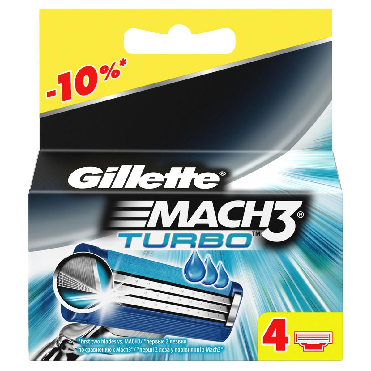 Gillette Сменные кассеты Mach3 Turbo, 4 штGE0701Новые лезвия. Острее, чем одноразоваябритва. Бреет без раздражения. Даже 10-ое бритье Mach3 комфортнее 1-го одноразовой бритвой.Совершенствуй процесс бритья с бритвой Mach3! Gillette Mach3 Turbo имеет более острые лезвия (первые два лезвия в сравнении с Mach3) и обеспечивает гладкое бритье без раздражения по сравнению одноразовыми бритвами Bluell Plus. Лезвия Turbo легче срезают щетину, не тянут и не дергают волоски (первые два лезвия в сравнении с Mach3), даря вам невероятный комфорт. В то же время гелевая полоска Comfort помогает сохранить дольшевашу бритву Mach3 Turbo и мягко скользит по коже (по сравнению с одноразовыми бритвенными станками Bluell Plus). Этот станок имеет вдвое больше микрогребней SkinGuard для мягкости бритья (по сравнению с одноразовыми бритвенными станками Bluell Plus). Плавающая головка обеспечивает тесный контакт лезвий с кожей, рукоятка с регулировкой нажатия адаптируется к контурам лица для более легкого и комфортного бритья (по сравнению с одноразовыми бритвенными станками Blueell Plus). Даже десятое бритье Mach 3 комфортнее первого одноразовой бритвой (по сравнению с одноразовыми станками для бритья Bluell Plus).Первые два лезвия по сравнению с Gillette BlueII Plus По сравнению с Gillette BlueII Plus Срок хранения – 5 лет.Страна производства – Польша. Характеристики:Материал: пластик, металл. Количество в упаковке: 4 шт. Производитель: Германия. Товар сертифицирован.