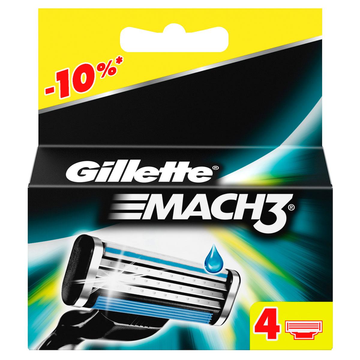 Сменные кассеты для бритья Gillette Mach 3, 4 шт.15032030Даже 10-ое бритье Mach3 комфортнее 1-го одноразовой бритвой.Почувствуйте исключительную эффективность Mach3! Это бритва включает в себя гелевую полоску, которая способствует скольжению и защищает кожу от покраснения, также полоска исчезает, когда кассету пора менять. Плавающая головка обеспечивает тесный контакт лезвий с кожей, удобная ручка адаптируется к контурам лица для более легкого и комфортного бритья (по сравнению с одноразовыми бритвенными станками Blueell Plus). Даже после десятого использования бритвы ощущения более приятные, чем от одноразовых станков (по сравнению с одноразовыми станками для бритья Bluell Plus).По сравнению с Gillette BlueII Plus Срок хранения – 5 лет.Страна производства – Польша. Характеристики:Комплектация: 4 сменные кассеты. Товар сертифицирован.Состав смазывающей полоски: PEG-115M, PEG-7M, PEG-100, BHT, TOCOPHERYL ACETATE.