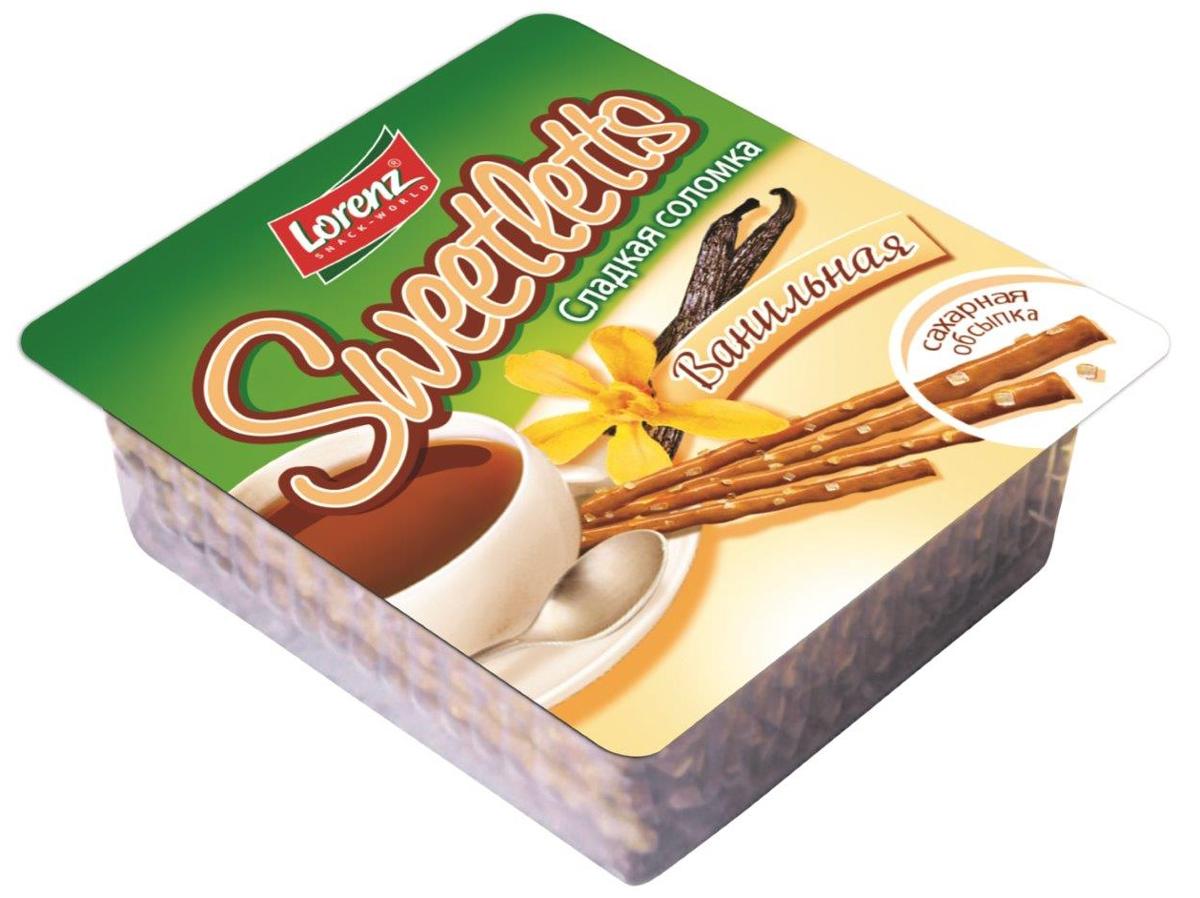 Lorenz Sweetletts соломка сладкая ванильная, 150 г0120710Ванильная соломка Lorenz Sweetletts в сахарной обсыпке невероятно вкусная и хрустящая. Соломку производят на основе пшеничной хлебопекарной муки высшего сорта. В результате получается очень вкусная и хрустящая закуска, обладающая нежной, рассыпчатой структурой. Такая соломка - отличный вариант быстрой закуски. Ее также можно использовать для приготовления десертов, украшения тортов и пирожных, а также в качестве основы или прослойки для многих десертов.
