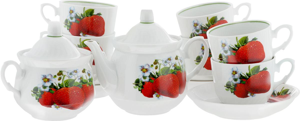 Сервиз чайный Кирмаш. Клубника, 14 предметов1224516Чайный сервиз Кирмаш. Клубника состоит из 6 чашек, 6 блюдец, сахарницы и заварочного чайника. Изделия выполнены из высококачественного фарфора и оформлены ярким рисунком. Изящный чайный сервиз прекрасно оформит стол к чаепитию и порадует вас элегантным дизайном и качеством исполнения.Объем чайника: 1 л.Высота чайника (без учета крышки): 10,5 см.Диаметр чайника (по верхнему краю): 9,5 см.Высота сахарницы (без учета крышки): 9 см.Диаметр сахарницы (по верхнему краю): 10 см.Объем сахарницы: 400 мл.Объем чашки: 220 мл.Диаметр чашки (по верхнему краю): 8,7 см.Высота чашки: 7,2 см.Диаметр блюдца: 14 см.Высота блюдца: 3 см.