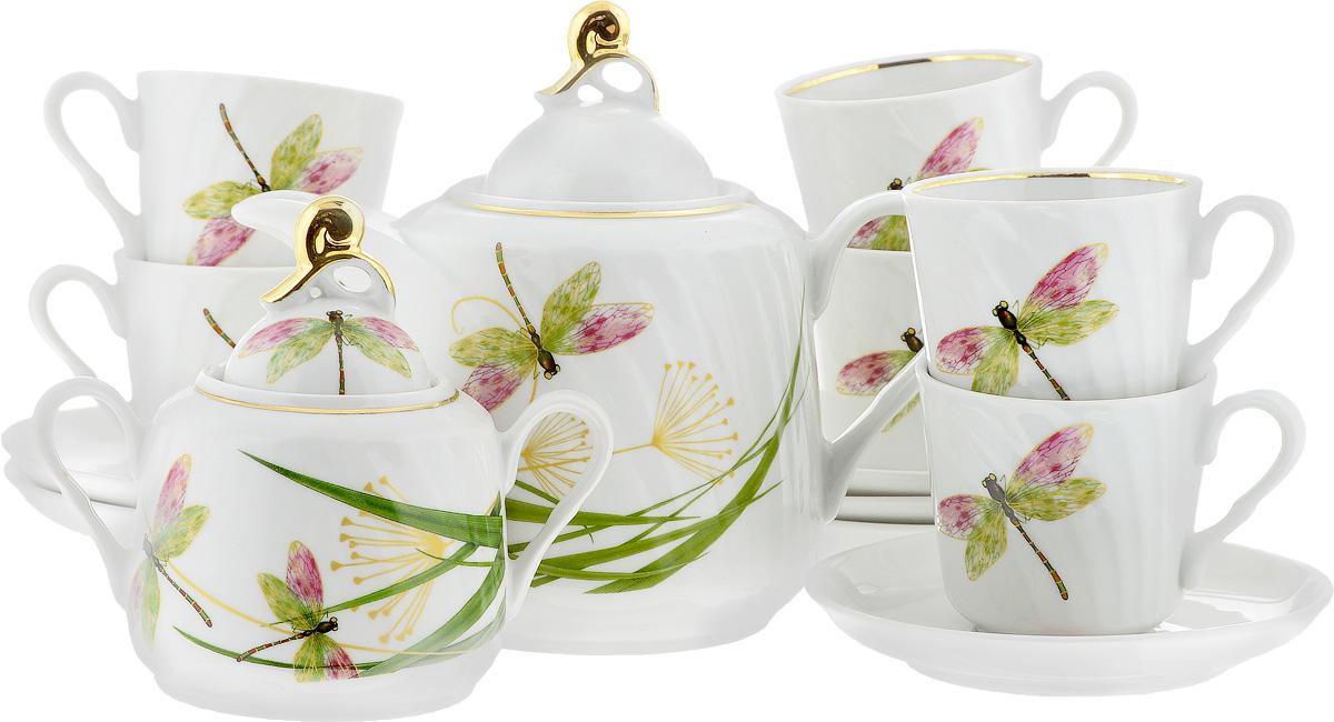 Сервиз чайный Голубка. Стрекоза, 14 предметов115510Чайный сервиз Голубка. Стрекоза состоит из 6 чашек, 6 блюдец, сахарницы и заварочного чайника. Изделия выполнены из высококачественного фарфора и оформлены ярким рисунком. Изящный чайный сервиз прекрасно оформит стол к чаепитию и порадует вас элегантным дизайном и качеством исполнения.Объем чайника: 1 л.Высота чайника (без учета крышки): 13 см.Диаметр чайника (по верхнему краю): 8,5 см.Высота сахарницы (без учета крышки): 9 см.Диаметр сахарницы (по верхнему краю): 6,5 см.Объем сахарницы: 400 мл.Объем чашки: 220 мл.Диаметр чашки (по верхнему краю): 8,5 см.Высота чашки: 8 см.Диаметр блюдца: 14 см.Высота блюдца: 3 см.