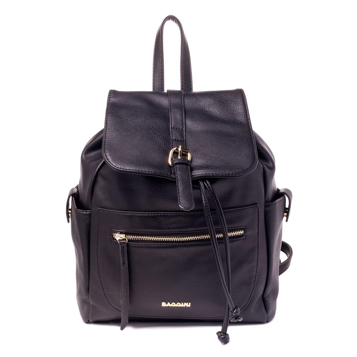 Рюкзак женский Baggini, цвет: черный. 29719/10ML597BUL/DСтильный женский рюкзак Baggini выполнен из высококачественной искусственной кожи. Рюкзак имеет одно вместительное основное отделение, которое закрывается клапаном с магнитной застежкой. Внутри располагается прорезной карман на молнии и два накладных кармашка для мелочей. Рюкзак дополнен прорезным карманом на молнии спереди, двумя накладными карманами с хлястиками на магнитных кнопках по бокам и прорезным карманом на молнии на задней стенке. Модель оснащена узкими лямками и небольшой ручкой сверху. Лямки регулируются по длине. На дне рюкзака расположены металлические ножки.Этот рюкзак станет практичным и модным городским аксессуаром.