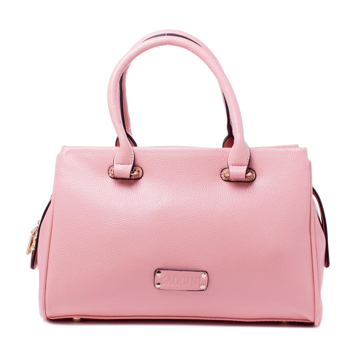Сумка женская Baggini, цвет: розовый. 29791/63S76245Женская сумка Baggini выполнена из искусственной кожи.Изделие содержит одно отделение и закрывается на застежку-молнию. Внутри расположены два накладных кармана, врезной карман на застежке-молнии и карман-средник на молнии. Задняя сторона сумки дополнена врезным карманом на молнии. Сумка оснащена двумя удобными ручками средней высоты и съемным плечевым ремнем. Дно сумки дополнено металлическими ножками.