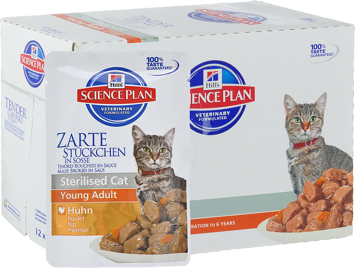 Консервы Hills Sterilised Cat Young Adult для стерилизованных кошек до 6 лет, с курицей, 85 г, 12 шт0120710Стерилизованные кошки в три раза более склонны к набору лишнего веса и образованию камней в мочевом пузыре.Консервы Hills Sterilised Cat Young Adult способствует гармоничному развитию и удовлетворяет специфические потребности стерилизованных кошек. Содержит комплекс антиоксидантов с клинически подтвержденным эффектом и уникальную формулу контроля веса.Ключевые преимуществаУникальная формула контроля веса способствует сжиганию жира и укреплению мышц Контролируемые уровни минералов для поддержания здоровья мочевыводящих путей Легко усваиваемые ингредиенты для оптимального всасывания Ингредиенты высокого качества. 100% гарантии качества, консистенции и вкуса.Состав: мясо и производные животного происхождения, злаки, зерновые злаки, экстракты растительного белка, производные растительного происхождения, различные виды сахаров, минералы, овощи, масла и жиры, яйцо и его производные. Анализ: белок 7,6%, жир 2,2%, клетчатка 1,1%, зола 1,3%, влага 80%, кальций 0,2%, фосфор 0,16%, натрий 0,07%, магний 0,02%; на кг: витамин Е 130 мг, витамин С 20 мг, бета-каротин 0,3 мг.Добавки на кг: Е671 (Витамин D3) 130 МЕ, Е1 (железо) 54,9 мг, Е2 (йод) 1,1 мг, Е4 (медь) 11,7 мг, Е5 (марганец) 5,2 мг, Е6 (цинк) 58 мг, натуральная карамель (природный краситель). Товар сертифицирован.