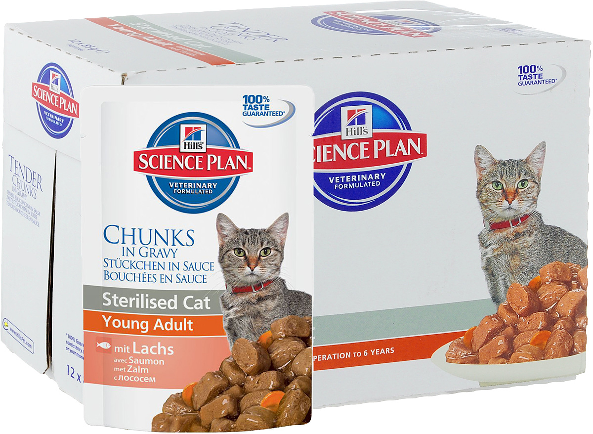 Консервы Hills Sterilised Cat Young Adult для стерилизованных кошек до 6 лет, с лососем, 85 г, 12 шт0120710Стерилизованные кошки в три раза более склонны к набору лишнего веса и образованию камней в мочевом пузыре.Консервы Hills Sterilised Cat Young Adult способствует гармоничному развитию и удовлетворяет специфические потребности стерилизованных кошек. Содержит комплекс антиоксидантов с клинически подтвержденным эффектом и уникальную формулу контроля веса.Ключевые преимущества:Уникальная формула контроля веса способствует сжиганию жира и укреплению мышц Контролируемые уровни минералов для поддержания здоровья мочевыводящих путей Легко усваиваемые ингредиенты для оптимального всасывания Ингредиенты высокого качества. 100% гарантии качества, консистенции и вкуса.Состав: мясо и пептиды животного происхождения, зерновые злаки, рыба и рыбные производные, экстракты растительного белка, производные растительного происхождения, различные виды сахаров, минералы, овощи, яйцо и его производные, масла и жиры. Анализ: белок 7,9%, жир 2,4%, клетчатка 1,2%, зола 1,3%, влага 80%, кальций 0,19%, фосфор 0,16%, натрий 0,07%, магний 0,018%; на кг: витамин Е 130 мг, витамин С 20 мг, бета-каротин 0,3 мг.Добавки на кг: Е671 (Витамин D3) 170 МЕ, Е1 (железо) 57,8 мг, Е2 (йод) 1,1 мг, Е4 (медь) 12,3 мг, Е5 (марганец) 5,4 мг, Е6 (цинк) 61,1 мг, натуральная карамель (природный краситель). Товар сертифицирован.