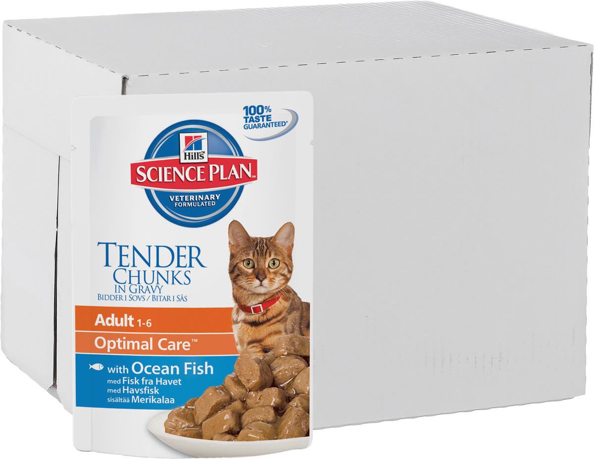 Консервы Hills Optimal Care для кошек от 1 года, с океанической рыбой, 85 г, 12 шт2105_12Консервы Hills Optimal Care - это полноценное, точно сбалансированное питание, приготовленное из ингредиентов высокого качества, без добавления красителей и консервантов. Каждый рацион Science Plan содержит эксклюзивный комплекс антиоксидантов с клинически подтвержденным эффектом для поддержки иммунной системы вашего питомца.Рекомендуется кошкам в возрасте от 1 до 7 лет.Не рекомендуется: - котятам, - беременным и кормящим кошкам. Во время беременности и лактации кошек нужно переводить на рацион для котят Hills Science Plan Kitten Healthy Development (Гармоничное развитие).Ключевые преимущества: - Высокая энергетическая ценность удовлетворяет потребность животного в энергии без необходимости скармливать большие порции. - Контролируемое содержание протеинов и натрия - точный баланс нутриентов для крепкого здоровья (не допускает избытка нутриентов, который может навредить здоровью). - Контролируемое содержание магния и фосфора поддерживает здоровье мочевыводящих путей. - Комплекс антиоксидантов нейтрализует действие свободных радикалов и поддерживает иммунитет. - Превосходные вкусовые характеристики не оставят вашего питомца равнодушным.Ингредиенты: курица, свинина, лосось (4%), крахмал тапиоки, кукурузный крахмал, пшеничная мука, сухое цельное яйцо, декстроза, концентрат протеина гороха, целлюлоза, подсолнечное масло, минералы, порошок животного протеина, DL-метионин, витамины, микроэлементы, L-триптофан, бета-каротин. Окрашено натуральной карамелью.Среднее содержание нутриентов в рационе: протеин 7,8%, жиры 4,4%, углеводы (БЭВ) 6,2%, клетчатка (общая) 0,5%, влага 80,0%, кальций 0,15%, фосфор 0,12%, натрий 0,07%, калий 0,15%, магний 0,01%, Омега-3 жирные кислоты 0,16%, Омега-6 жирные кислоты 0,99%, таурин 865 мг/кг, Витамин A 23 712 МЕ/кг, Витамин D 281 МЕ/кг, Витамин E 115 мг/кг, Витамин C 20 мг/кг, бета-каротин 0,3 мг/кг. Метаболизируемая энергия в рационе: Ккал/100 г 87; кДж/10