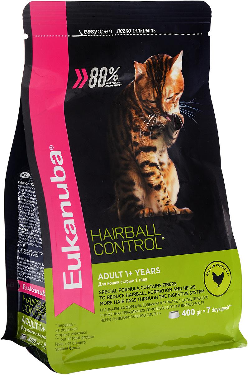 Корм сухой Eukanuba Heirball Control, для взрослых кошек, живущих в помещении, для профилактики образования комков шерсти, с домашней птицей, 400 г19273Сухой корм Eukanuba Heirball Control является полноценным сбалансированным питанием для взрослых кошек возрастом от 1 года и старше, предназначенный для профилактики образования комков шерсти в желудке. Не содержит искусственных красителей, консервантов и вкусовых добавок.Особенности корма: - способствует поддержанию иммунной системы за счет антиоксидантов; - способствует поддержанию здоровой кишечной микрофлоры за счет пребиотиков и клетчатки;- разработан специально для поддержания здоровья мочевыводящий путей; - белки животного происхождения способствуют росту и сохранению мышечной массы; - способствует сохранению здоровья кожи и блестящей шерсти, благодаря рыбьему жиру и оптимальному соотношению омега-6 и омега-3 жирных кислот; - поддерживает здоровье зубов.Состав: белки животного происхождения (домашняя птица 43%, натуральный источник таурина), жир животный, пшеница, овощные волокна, пульпа сахарной свеклы, рис, пшеничная мука, сухое цельное яйцо, гидролизированный животный белок, , минералы, фрукто-олиго-сахариды, высушенные пивные дрожжи, рыбий жир.Добавки на 1 кг: витамин А 21000 МЕ, витамин D3 1000 МЕ, витамин Е 260 мг, сульфата меди 15 мг, йодид калия 3,1 мг. Товар сертифицирован.