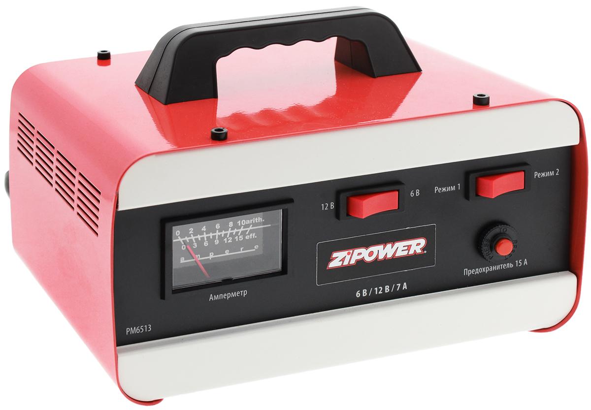 Устройство зарядное Zipower. PM 6513A80908SЗарядное устройство Zipower для автомобильного аккумулятора предназначено для обслуживания и зарядки 12-вольтовых аккумуляторных батарей, используемых в легковых автомобилях и мотоциклах. Данная модель имеет защиту от перегрева и неправильного подключения. Зарядное устройство для автомобильного аккумулятора работает в автоматическом режиме (самостоятельно определяет уровень зарядки батареи и уменьшает ток на финишном этапе). Подходит для зарядки полностью разряженных аккумуляторов. Защита от короткого замыкания гарантирует долгий срок службы устройства. Небольшие габариты и малый вес обеспечивают удобство использования. На передней части расположен амперметр. Изделие имеет 2 режима работы и защищено от неправильной полярности.Для аккумуляторных батарей: 6/12 В.Максимальный ток зарядки: 7 А.