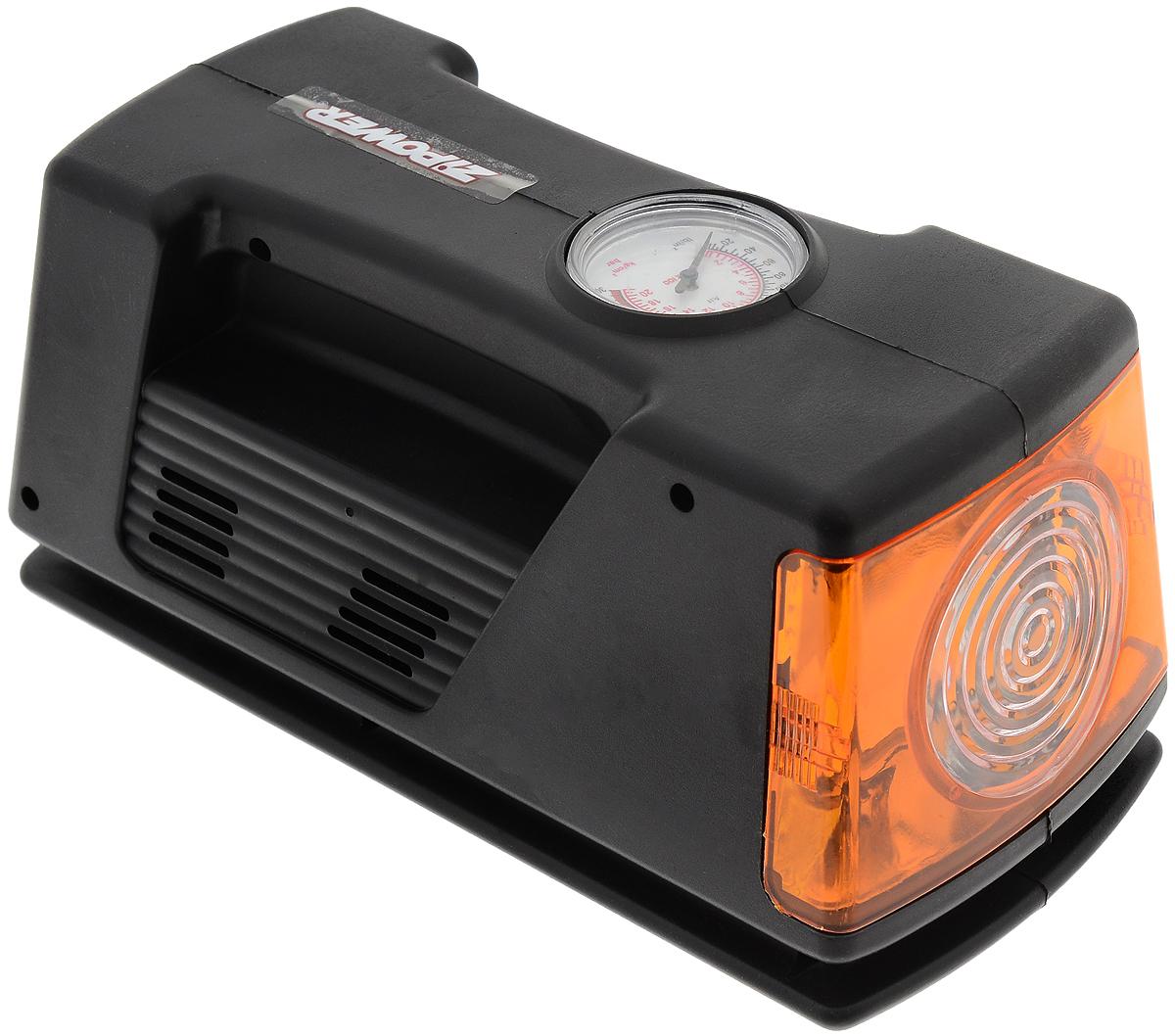 Компрессор автомобильный Zipower, с манометром и фонаремAL-500Автомобильный компрессор Zipower позволяет накачать колесо автомобиля или же проверить в нем давление. Встроенный фонарь позволяет производить работы в темное время суток. Оснащен проблесковым маячком. Подключается к бортовой сети автомобиля. Контроль за давлением осуществляется при помощи встроенного манометра. Напряжение: 12 ВМаксимальное давление: 21 атм.Производительность: 10 л/мин.Диапазон работы манометра: 0–5 атм.Насадки: 3 шт.