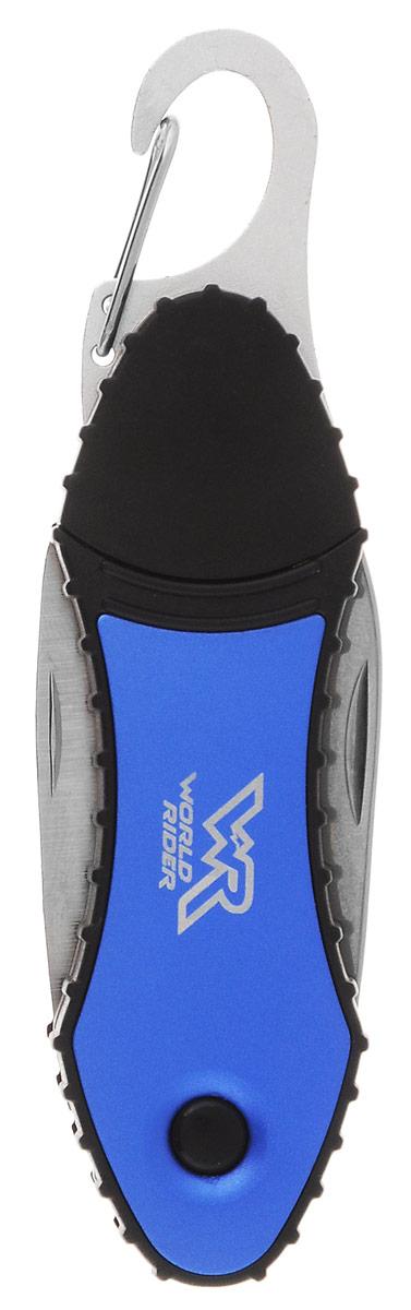 Нож многофункциональный туристический World Rider, с фонарем, цвет: синий, стальнойWR 5008_синийНож многофункционального назначения World Rider незаменим в походе, на пикнике и в быту. В одном корпусе он сочетает самые необходимые инструменты, включая крестовую отвертку, пилку для ногтей, лезвие, пилу и светодиодный фонарик. Предметы изготовлены на высокоточном оборудовании из высококачественной легированной полированной стали. Благодаря карабину нож удобно носить на ремне.Длина в сложенном виде: 11,5 см.Длина в разложенном виде: 16,5 см.Длина лезвия: 4,7 см.Длина пилы: 5 см.
