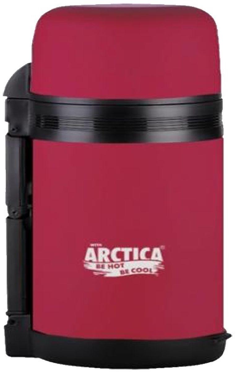 Термос Арктика, с чашкой, цвет: красный, 0,8 л. 203-800203-800 красныйТермос Арктика с широким горлом сохранит вашу еду или напитки горячими в течение долгого времени. Корпус выполнен из высококачественной нержавеющей стали, покрытой специальным резиновым напылением. Резиновое напыление является дополнительным термоизолирующим слоем. Крышку можно использовать в качестве стакана, также есть дополнительная чашка и удобный ремешок для переноски.Пробка термоса состоит из двух составных частей: узкая для напитков, широкая - для еды. Термос составит компанию за обеденным столом, улучшит настроение и поднимет аппетит, где бы этот стол не находился. Пусть даже в глухом отсыревшем лесу, где даже развести костер будет стоить немалого труда. Забудьте об этих неудобствах - вместительный и компактный термос Арктика с радостью послужит вам в качестве миниатюрной полевой кухни, поднимет настроение нарядным внешним видом и вкусной домашней едой.