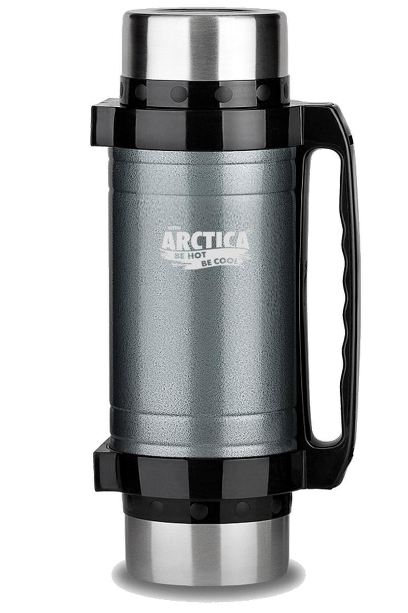 Термос Арктика, с чашками и ложками, цвет: темно-серый, черный, 2 л202-2000 серыйТермос Арктика с широким горлом сохранит вашу еду или напитки горячими в течение долгого времени. Корпус выполнен из высококачественной нержавеющей стали. Две крышки можно использовать в качестве стаканов, так же есть дополнительная чашка, и две ложки. В комплекте имеется удобный ремень для переноски. Термос можно использовать как для еды, открутив клапан, так и для напитков, нажав на клапан. Термос Арктика составит компанию за обеденным столом, улучшит настроение и поднимет аппетит, где бы этот стол не находился. Пусть даже в глухом отсыревшем лесу, где даже развести костер будет стоить немалого труда. Забудьте об этих неудобствах - вместительный и компактный термос Арктика с радостью послужит вам в качестве миниатюрной полевой кухни, поднимет настроение нарядным внешним видом и вкусной домашней едой.Диаметр горлышка: 7,5 см.Высота (с учетом крышки): 32,5 см.Время сохранения температуры (холодной и горячей): 30 часа.