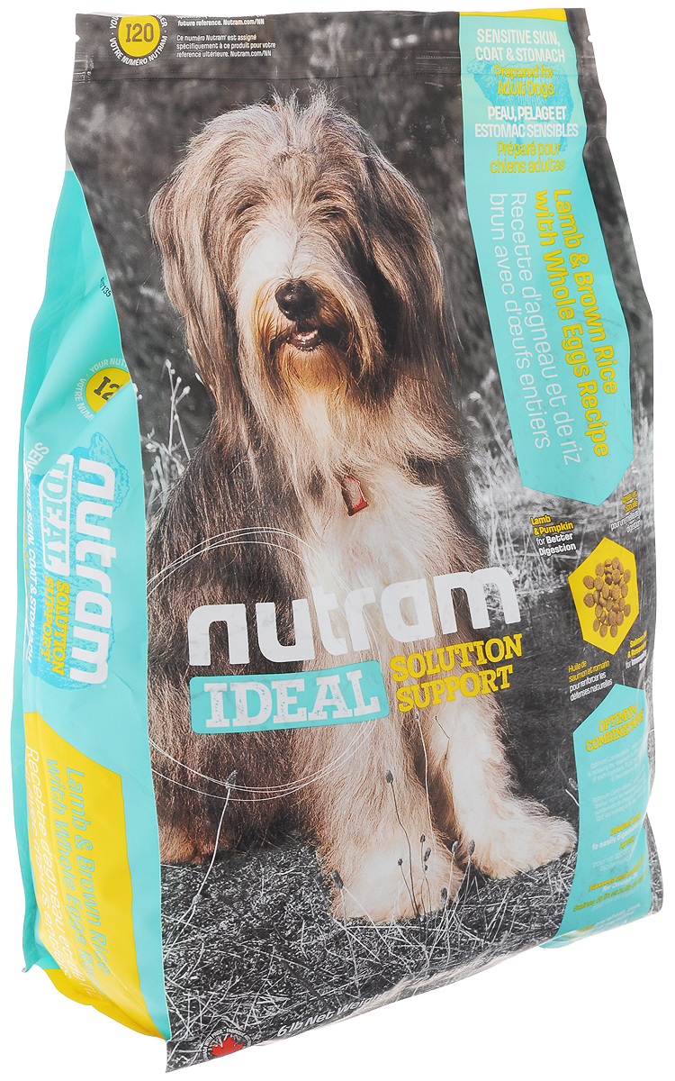 Корм сухой Nutram Ideal Solution Support I20 для собак с проблемами кожи, шерсти и пищеварения, с ягненком, бурым рисом и яйцом, 2,72 кг0120710Корм сухой Nutram Ideal Solution Support I20 - специализированный полнорационный корм для взрослых собак с проблемами кожи, шерсти и пищеварения. Целостный (holistic), полезный, богатый питательными веществами корм, который улучшает самочувствие и здоровье питомцев по принципу изнутри наружу. Подход Nutram к целостному питанию начинается с улучшения пищеварения. Для этого используется специальная комбинация легкоусвояемых белков, которые содержатся в мясе ягненка, и клетчатки тыквы, которая обеспечивает оптимальную среду для пищеварения. Данный рецепт сочетает в себе иммуннотонизирующие свойства лосося - источника Омега-3 кислот, которые оказывают противовоспалительное действие, и розмарина - мощного антиоксиданта. Такое оптимальное сочетание обеспечивает все необходимые питательные вещества для поддержки здоровья кожи и шерсти. Особенности: - Содержит мясо ягненка, коричневый рис и цельные яйца; - Мясо ягненка без костей - источник легкоусвояемых белков и привлекательного вкуса; - Жир лососевых рыб и семена льна - источники Омега-3 жирных кислот; - Не содержит пшеницу, кукурузу, картофель или сою в любом виде. Состав: дегидрированное мясо ягненка, коричневый рис, перловая крупа, рис, цельные яйца, мясо ягненка без костей, дегидрированное мясо лосося, каноловое (рапсовое) масло, льняное семя, жир лососевых рыб, сушеная свекольная масса, сушеная масса гороха, люцерна, натуральный ароматизатор, хлористый калий, яблоко, тыква мускатная, тыква, брокколи, морская соль, хлорид холина, DL-метионин, корень цикория (пребиотик), витамины и минералы (витамин E, витамин А, витамин D3, витамин В3, витамин С, витамин B5, витамин B1, витамин B2, бета-каротин, витамин В6, витамин B9, витамин B7, витамин B12, протеинат цинка, сульфат железа, протеинат железа, оксид цинка, протеинат меди, сульфат меди, протеинат марганца, оксид марганца, йодат
