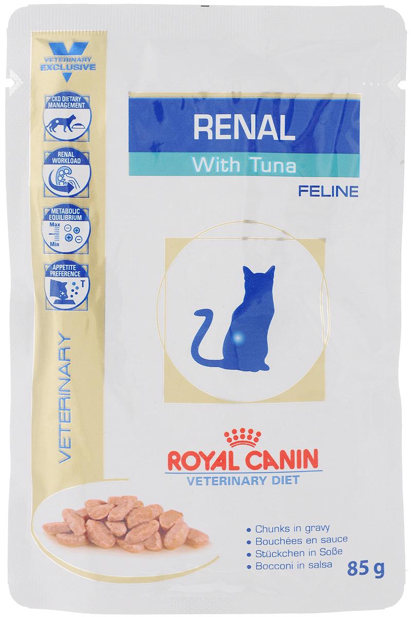 Консервы Royal Canin Renal Feline для кошек с почечной недостаточностью, с тунцом, 85 г0120710Консервы Royal Canin Renal Feline предназначены для кошек с почечной недостаточностью.Показания: - Хроническая почечная недостаточность (ХПН) - Профилактика рецидивов образования камней оксалата кальция у кошек с ослабленной функцией почек- Профилактика рецидивов уролитиаза (уратов, цистинов), вызванных снижением уровня рН мочиПротивопоказания: - Беременность, лактация, ростДлительность курса применения: Минимальный срок назначения диетотерапии составляет 6 месяцев. По истечении этого времени необходимо повторное общее обследование. Если повреждены 3/4 нефронов почек, болезнь приобретает необратимый характер, и диетотерапию назначают для применения в течение всей жизни кошки. Особенности: - Диетологическое лечение ХПН Формула продуктов специально разработана для поддержания почечной функции при ХПН. Продукты отличаются низким содержанием фосфора, содержат комплекс антиоксидантов, жирные кислоты ЕРА и DHA. При ХПН почки теряют способность надлежащим образом выводить фосфор. Низкое содержание фосфора в продукте способствует замедлению развития болезни. При кормлении диетическим кормом с адаптированным содержанием рыбьего жира (источника незаменимых жирных кислот ЕРА и DHA) повышается скорость клубочковой фильтрации. - Снижение нагрузки на почки Чрезмерная нагрузка на почки может спровоцировать уремический криз. Высокое качество и адаптированное содержание белков способствуют снижению нагрузки на почки. Если содержание белка в рационе значительно превышает минимальные потребности, при сниженной экскреторной функции почек продукты распада азота накапливаются в биологических жидкостях. - Метаболическое равновесиеХПН может привести к метаболическому ацидозу, поэтому в состав продуктов входят подщелачивающие вещества. Почки играют важнейшую роль в поддержании кислотно-щелочного баланса. При нарушенной функции почек их способность к выведению ионов водорода и реабсорбции ионов бика