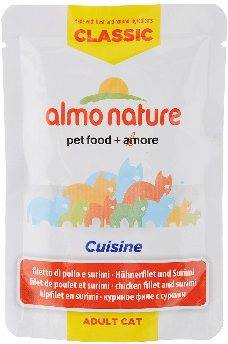 Консервы для взрослых кошек Almo Nature Classic Cuisine, куриное филе с сурими, 55 г12171996Консервы для взрослых кошек Almo Nature Classic Cuisine - дополнительное питание для кошек, которое изготавливается из свежих натуральных ингредиентов, чтобы предложить вашей кошке самое лучшее питание. Обогащены витаминами и минералами. Состав: куриное филе 48%, куриный бульон, сурими 4,1%, рис. Добавки: витамин А 1325 МЕ/кг, витамин Е 15 мг/кг, таурин 160 мг/кг. Гарантированный анализ: белки 13%, клетчатка 0,1%, жиры 0,4%, зола 2%, влага 82%. Энергетическая ценность: 480 ккал/кг. Товар сертифицирован.