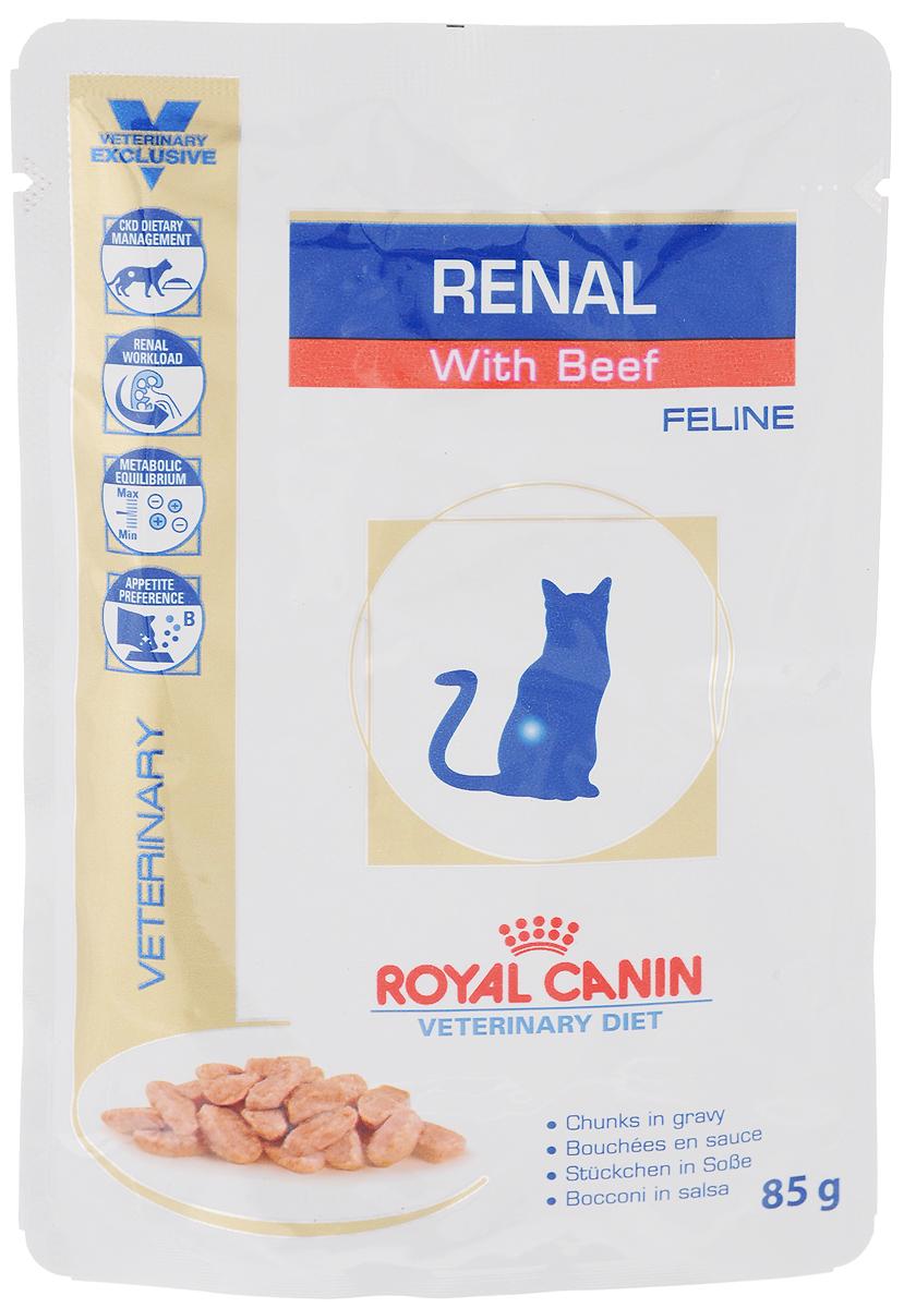 Консервы Royal Canin Renal Feline для кошек с почечной недостаточностью, с говядиной, 85 г58823Консервы Royal Canin Renal Feline предназначены для кошек с почечной недостаточностью.Показания: - Хроническая почечная недостаточность (ХПН) - Профилактика рецидивов образования камней оксалата кальция у кошек с ослабленной функцией почек- Профилактика рецидивов уролитиаза (уратов, цистинов), вызванных снижением уровня рН мочиПротивопоказания: - Беременность, лактация, ростДлительность курса применения: Минимальный срок назначения диетотерапии составляет 6 месяцев. По истечении этого времени необходимо повторное общее обследование. Если повреждены 3/4 нефронов почек, болезнь приобретает необратимый характер, и диетотерапию назначают для применения в течение всей жизни кошки. Особенности: - Диетологическое лечение ХПН Формула продуктов специально разработана для поддержания почечной функции при ХПН. Продукты отличаются низким содержанием фосфора, содержат комплекс антиоксидантов, жирные кислоты ЕРА и DHA. При ХПН почки теряют способность надлежащим образом выводить фосфор. Низкое содержание фосфора в продукте способствует замедлению развития болезни. При кормлении диетическим кормом с адаптированным содержанием рыбьего жира (источника незаменимых жирных кислот ЕРА и DHA) повышается скорость клубочковой фильтрации. - Снижение нагрузки на почки Чрезмерная нагрузка на почки может спровоцировать уремический криз. Высокое качество и адаптированное содержание белков способствуют снижению нагрузки на почки. Если содержание белка в рационе значительно превышает минимальные потребности, при сниженной экскреторной функции почек продукты распада азота накапливаются в биологических жидкостях. - Метаболическое равновесиеХПН может привести к метаболическому ацидозу, поэтому в состав продуктов входят подщелачивающие вещества. Почки играют важнейшую роль в поддержании кислотно-щелочного баланса. При нарушенной функции почек их способность к выведению ионов водорода и реабсорбции ионов бик