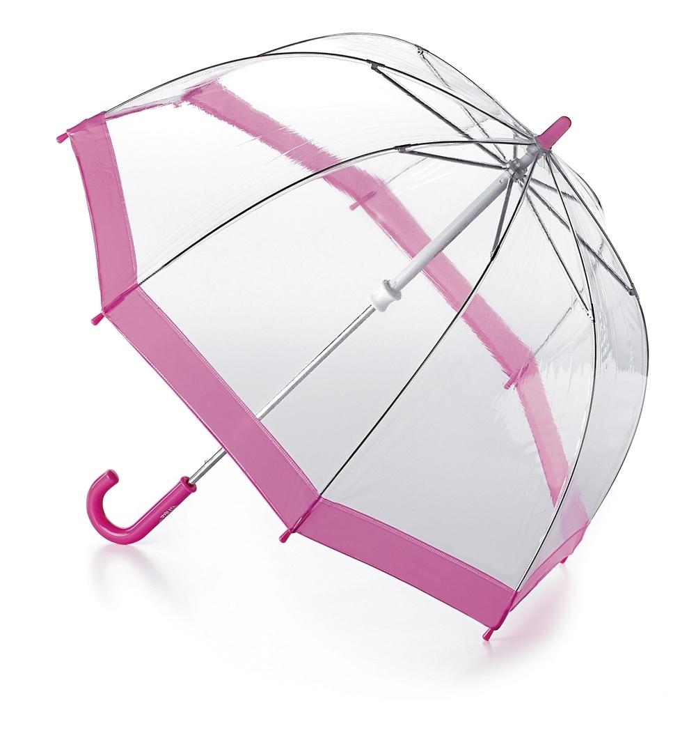 Зонт-трость детский Fulton, механический, цвет: прозрачный, розовый. C603-022K50K503414_0010Удобный механический зонт-трость Fulton даже в ненастную погоду позволит вашему ребенку оставаться стильным. Каркас зонта включает 8 спиц из фибергласса. Стержень изготовлен из прочного алюминия. Купол зонта выполнен из качественного ПВХ.Рукоятка закругленной формы, разработанная с учетом требований эргономики, выполнена из качественного пластика.Зонт механического сложения: купол открывается и закрывается вручную до характерного щелчка.