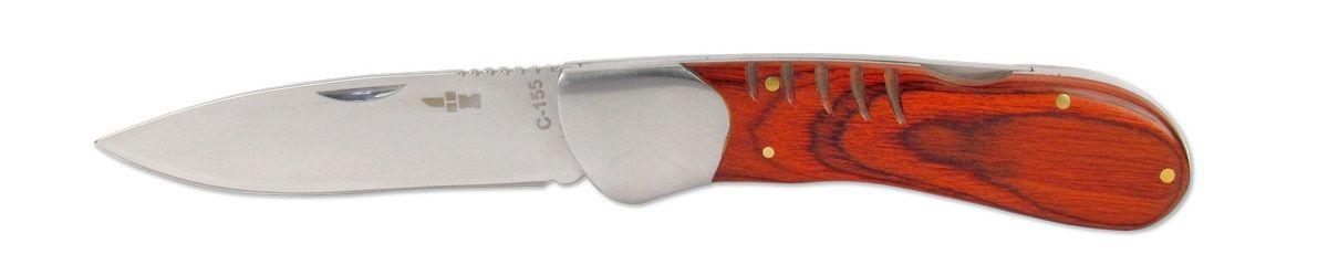 Нож складной Ножемир, длина клинка 8,8 смC-155 НожемирНебольшой складной нож Ножемир оснащен широким лезвием. Он хорошо лежит в руке и удобен, как при работе на кухне, так и на стоянке в лагере. Сталь 65х13 прекрасно держит заточку. Рукоять выполнена из стабилизированной древесины. Фиксатор Back lock предотвратит нежелательное сложение ножа.Общая длина ножа: 20 см.Твердость стали: 55-56 HRC.
