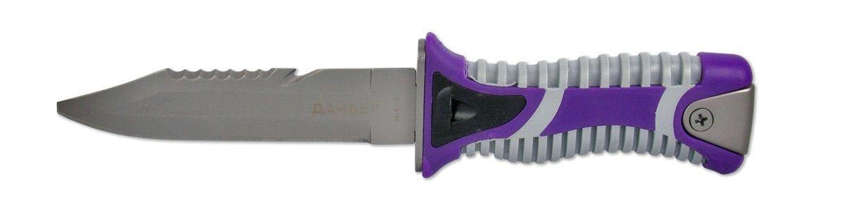 Нож туристический Ножемир, с ножнами, общая длина 23,5 смH-118 НожемирНож Ножемир, который используется в водных видах спорта, отличается от обычных туристических ножей. К основным признакам можно отнести: затупленный кончик, насечки на обухе, яркая рукоять из рифленого пластика, ножны с механизмом фиксации. В этой модели все эти признаки присутствуют. Такой нож станет верным другом для любого начинающего или опытного аквалангиста. Благодаря специальному покрытию, клинок не ржавеет даже в солёной воде.Общая длина ножа: 23,5 см.Твердость стали: 55-56 HRC.