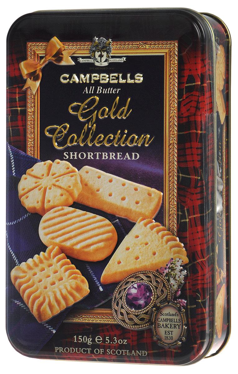 Campbells Gold Collection песочное печенье, 150 г (металлическая коробка)5412916940823Campbells Gold Collection - легендарное песочное печенье из Шотландии. Производитель вот уже 180 лет не изменяет рецепт приготовления этого вкуснейшего печенья, который состоит преимущественно из натуральных ингредиентов.