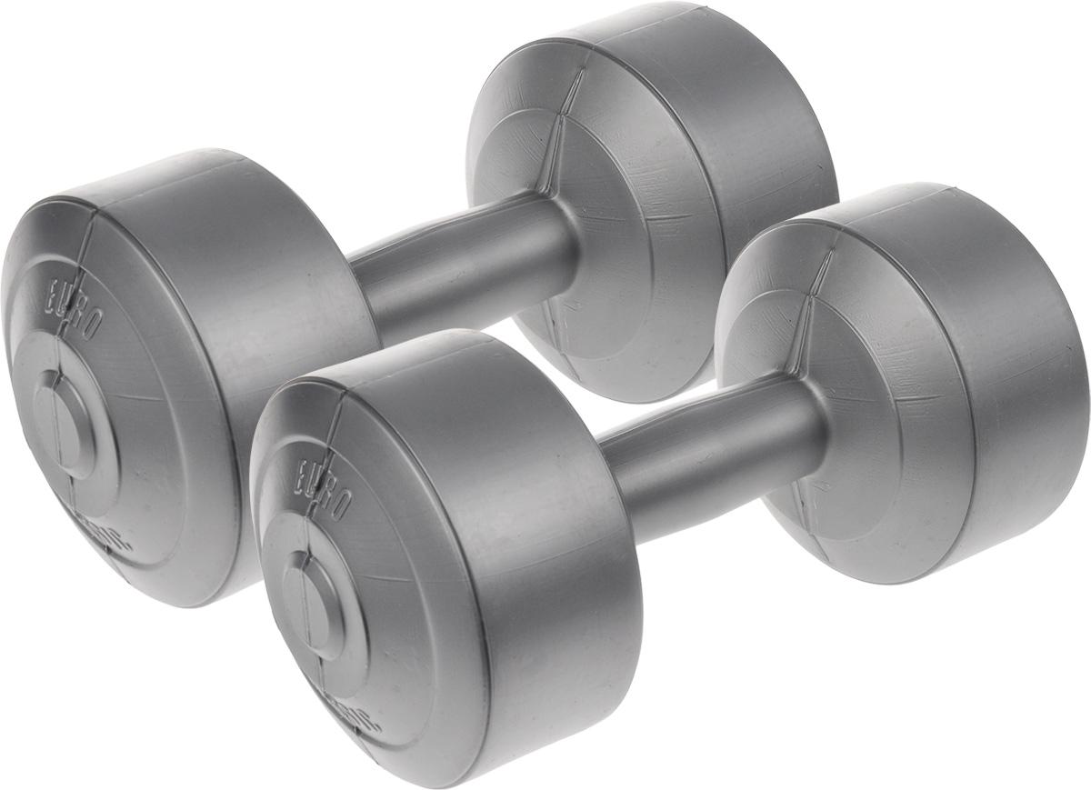 Гантели виниловые Euro-Classic, 4 кг, 2 штУТ-00007092Гантели Euro-Classic идеально подходят как для тренировок дома, так и в офисе. Гантели помогают укрепить мышцы рук, грудной клетки, верхней части спины и плеч. Внешнее покрытие изделий выполнено из прочного ПВХ, наполнитель - композитная смесь цемента и песка.
