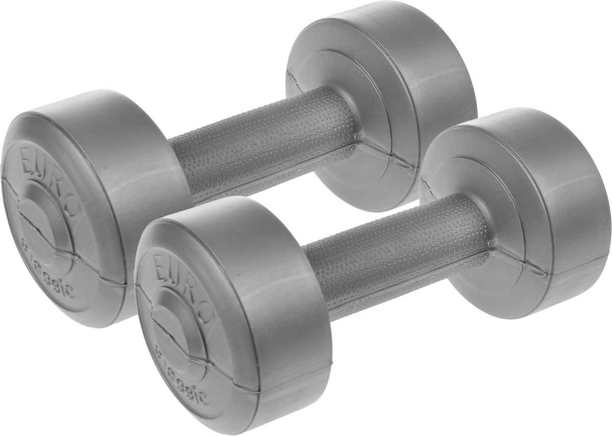 Гантели виниловые Euro-Classic, 1 кг, 2 штSF 0085Гантели Euro-Classic идеально подходят как для тренировок дома, так и в офисе. Гантели помогают укрепить мышцы рук, грудной клетки, верхней части спины и плеч. Внешнее покрытие изделий выполнено из прочного ПВХ, наполнитель - композитная смесь цемента и песка.Вес одной гантели: 1 кг.