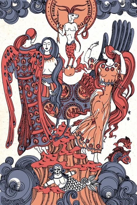 Открытка Хорс, Заря, Ночь и Вечерняя Заря. Из набора «Мифы славянской цивилизации. Автор Светлана БойкоБрелок для ключейОригинальная дизайнерская открытка «Хорс, Заря, Ночь и Вечерняя Заря» из набора «Мифы славянской цивилизации» выполнена из плотного матового картона. На лицевой стороне расположена репродукция картины художницы Светланы Бойко «Заря, Ночь И Вечерняя Заря встречаются с богом солнца у острова Буяна» созданная в рамках художественно-искусствоведческого исследования славянской мифологии.Такая открытка станет необычным подарком или оригинальным почтовым посланием, которое, несомненно, удивит получателя своим дизайном и подарит приятные воспоминания.