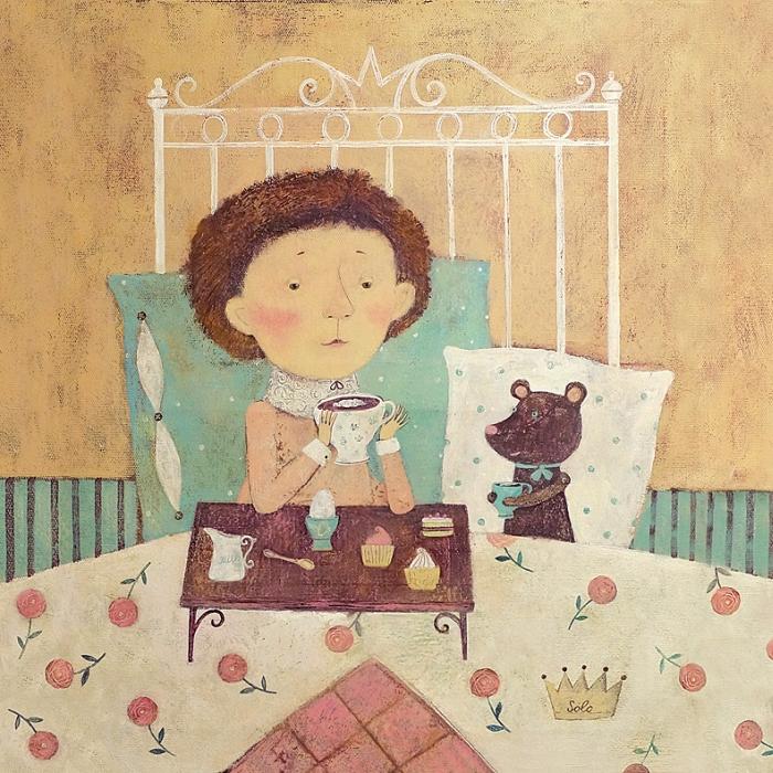 Открытка Кофе в постель. Автор Светлана СоловьеваБрелок для ключейОригинальная дизайнерская открытка «Кофе в постель» выполнена из плотного матового картона. На лицевой стороне расположена репродукция работы художницы Светланы Соловьевой с принцем, пьющим утренний кофе.Такая открытка станет великолепным дополнением к подарку или оригинальным почтовым посланием, которое, несомненно, удивит получателя своим дизайном и подарит приятные воспоминания.Размер открытки: 13 х 13 см.