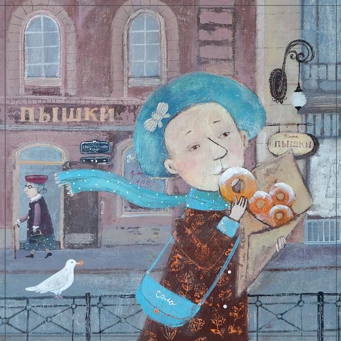 Открытка Питерские пышечки. Автор Светлана СоловьеваSvS10-023Оригинальная дизайнерская открытка «Питерские пышечки» выполнена из плотного матового картона. На лицевой стороне расположена репродукция работы художницы Светланы Соловьевой с девочкой, кушающей пышки.Такая открытка станет великолепным дополнением к подарку или оригинальным почтовым посланием, которое, несомненно, удивит получателя своим дизайном и подарит приятные воспоминания. Размер открытки: 13 х 13 см.
