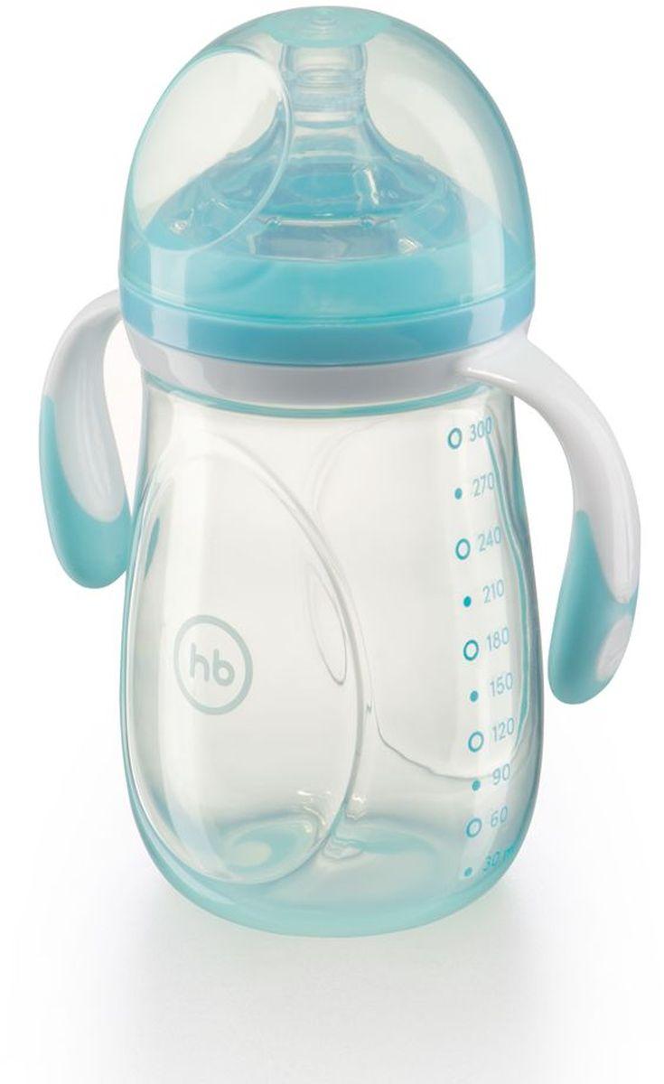 Happy Baby Бутылочка для кормления с ручками и антиколиковой силиконовой соской цвет голубой 300 мл -  Бутылочки