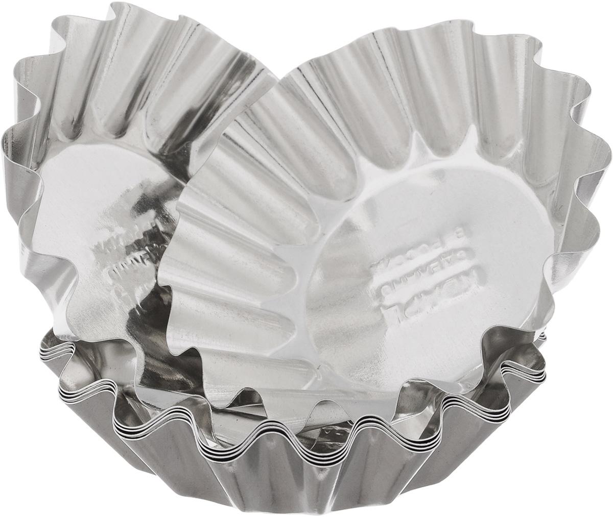 Набор форм для выпечки Кварц, диаметр 8,3 см, 6 шт68/5/4Набор Кварц состоит из шести форм, выполненных из белой жести. Формы предназначены для выпечки и приготовления желе. Стенки изделий рельефные.С набором форм Кварц вы всегда сможете порадовать своих близких оригинальной выпечкой.Диаметр форм (по верхнему краю): 8,3 см.Высота форм: 2,1 см.
