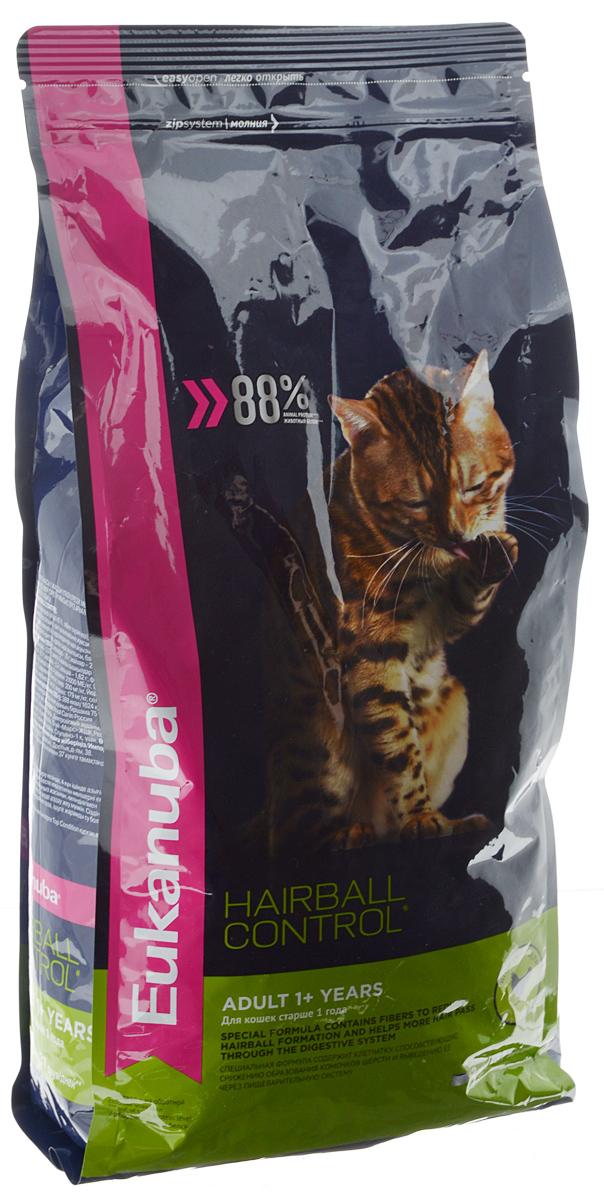 Корм сухой Eukanuba Heirball Control, для взрослых кошек, живущих в помещении, для профилактики образования комков шерсти, с домашней птицей, 2 кг0120710Сухой корм Eukanuba Heirball Control является полноценным сбалансированным питанием для взрослых кошек возрастом от 1 года и старше, предназначенный для профилактики образования комков шерсти в желудке. Не содержит искусственных красителей, консервантов и вкусовых добавок.Особенности корма: - способствует поддержанию иммунной системы за счет антиоксидантов; - способствует поддержанию здоровой кишечной микрофлоры за счет пребиотиков и клетчатки;- разработан специально для поддержания здоровья мочевыводящий путей; - белки животного происхождения способствуют росту и сохранению мышечной массы; - способствует сохранению здоровья кожи и блестящей шерсти, благодаря рыбьему жиру и оптимальному соотношению омега-6 и омега-3 жирных кислот; - поддерживает здоровье зубов.Состав: белки животного происхождения (домашняя птица 43%, натуральный источник таурина), жир животный, пшеница, овощные волокна, пульпа сахарной свеклы, рис, пшеничная мука, сухое цельное яйцо, гидролизированный животный белок, , минералы, фрукто-олиго-сахариды, высушенные пивные дрожжи, рыбий жир.Добавки на 1 кг: витамин А 21000 МЕ, витамин D3 1000 МЕ, витамин Е 260 мг, сульфата меди 15 мг, йодид калия 3,1 мг. Товар сертифицирован.
