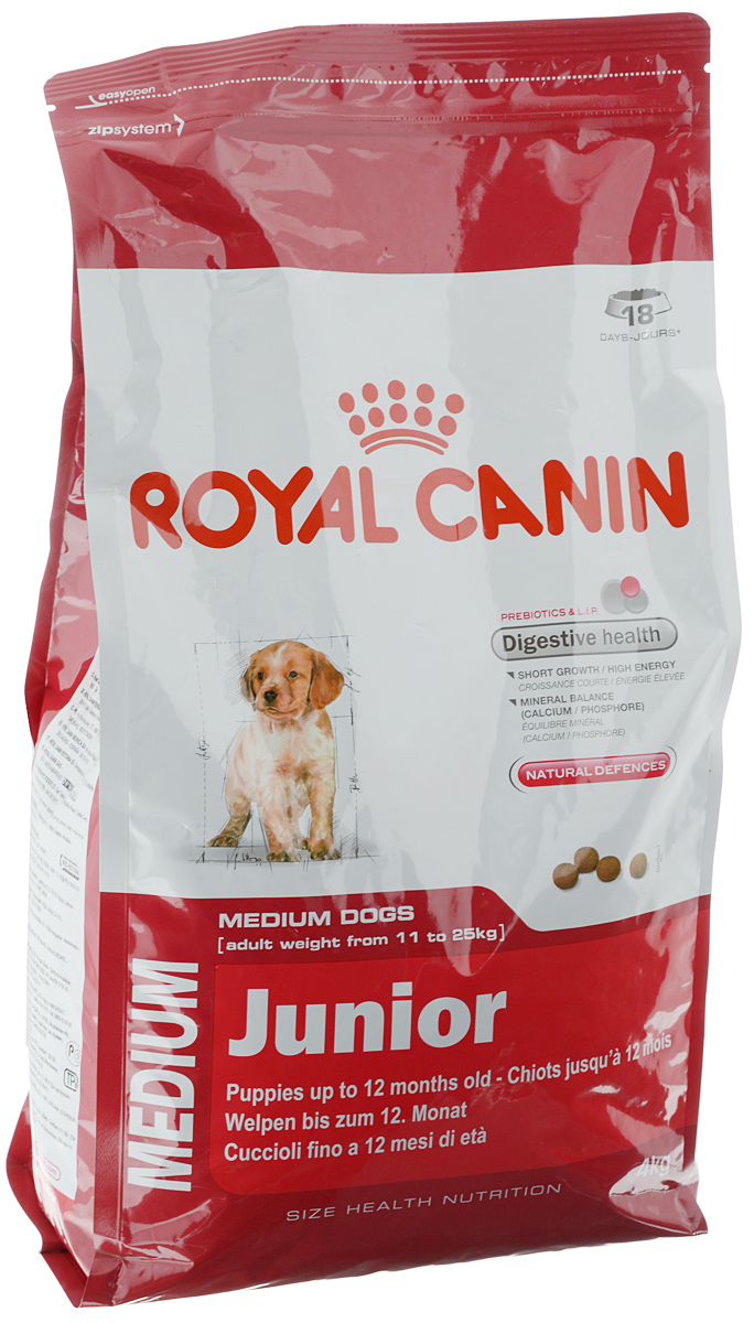 Корм сухой Royal Canin Medium Junior, для щенков весом от 11 кг до 25 кг в возрасте до 12 месяцев, 4 кг0120710Сухой корм Royal Canin Medium Junior - полнорационный сухой корм для щенков собак средних размеров (вес взрослой собаки от 11 до 25 кг) в возрасте до 12 месяцев. Эксклюзивная комбинация питательных веществ обеспечивает оптимальную безопасность пищеварения (L.I.P. белки) и баланс кишечной флоры (пребиотики, ФОС, МОС), который способствует нормальной консистенции стула. Короткий период роста - большие энергозатраты.Удовлетворяет высокие энергетические потребности щенков средних пород в короткий период их роста. Минеральный баланс (кальций / фосфор).Способствует нормальному формированию и росту скелета у щенков средних размеров благодаря оптимальному содержанию кальция и фосфора.Способствует поддержанию естественных защитных сил организма благодаря запатентованному комплексу антиоксидантов и манноолигосахаридов. Состав: дегидратированные белки животного происхождения (птица), животные жиры, кукуруза, дегидратированные белки животного происхождения (свинина), пшеница, свекольный жом, пшеничная мука, рис, кукурузная мука, гидролизат белков животного происхождения, изолят растительных белков, кукурузная клейковина, рыбий жир, дрожжи, соевое масло, минеральные вещества, фруктоолигосахариды, гидролизат дрожжей (источник мaннановых олигосахаридов), экстракт бархатцев прямостоячих (источник лютеина). Добавки (в 1 кг): Витамин A: 11800 ME, Витамин D3: 1000 ME, Железо: 46 мг, Йод: 3,6 мг, Марганец: 60 мг, Цинк: 199 мг, Ceлeн: 0,08 мг.Товар сертифицирован.